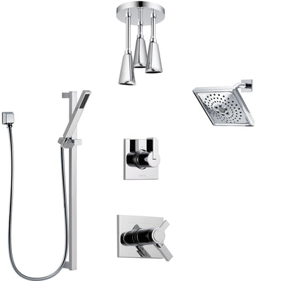 Delta Vero Chrome Shower System with Dual Thermostatic Control, 6-Setting Diverter, Showerhead, Ceiling Mount Showerhead, and Hand Shower SS17T5328