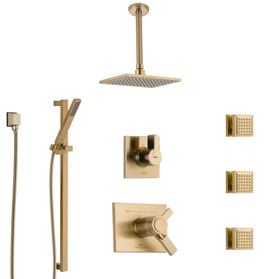 Delta Vero Champagne Bronze Shower System with Dual Thermostatic Control, Diverter, Ceiling Showerhead, 3 Body Sprays, and Hand Shower SS17T532CZ2