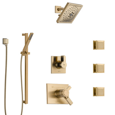 Delta Vero Champagne Bronze Shower System with Dual Thermostatic Control, 6-Setting Diverter, Showerhead, 3 Body Sprays, and Hand Shower SS17T532CZ4