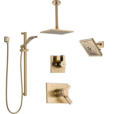 Delta Vero Champagne Bronze Shower System with Dual Thermostatic Control, Diverter, Showerhead, Ceiling Mount Showerhead, and Hand Shower SS17T532CZ7