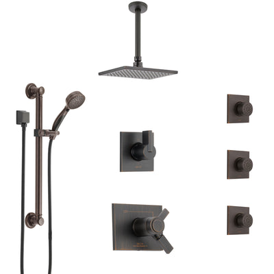 Delta Vero Venetian Bronze Dual Thermostatic Control Shower System, Diverter, Ceiling Showerhead, 3 Body Sprays, and Grab Bar Hand Spray SS17T532RB1