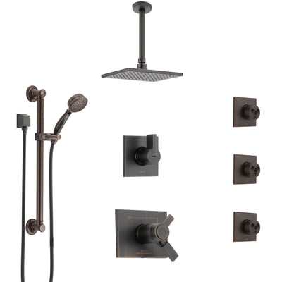 Delta Vero Venetian Bronze Dual Thermostatic Control Shower System, Diverter, Ceiling Showerhead, 3 Body Sprays, and Grab Bar Hand Spray SS17T532RB2