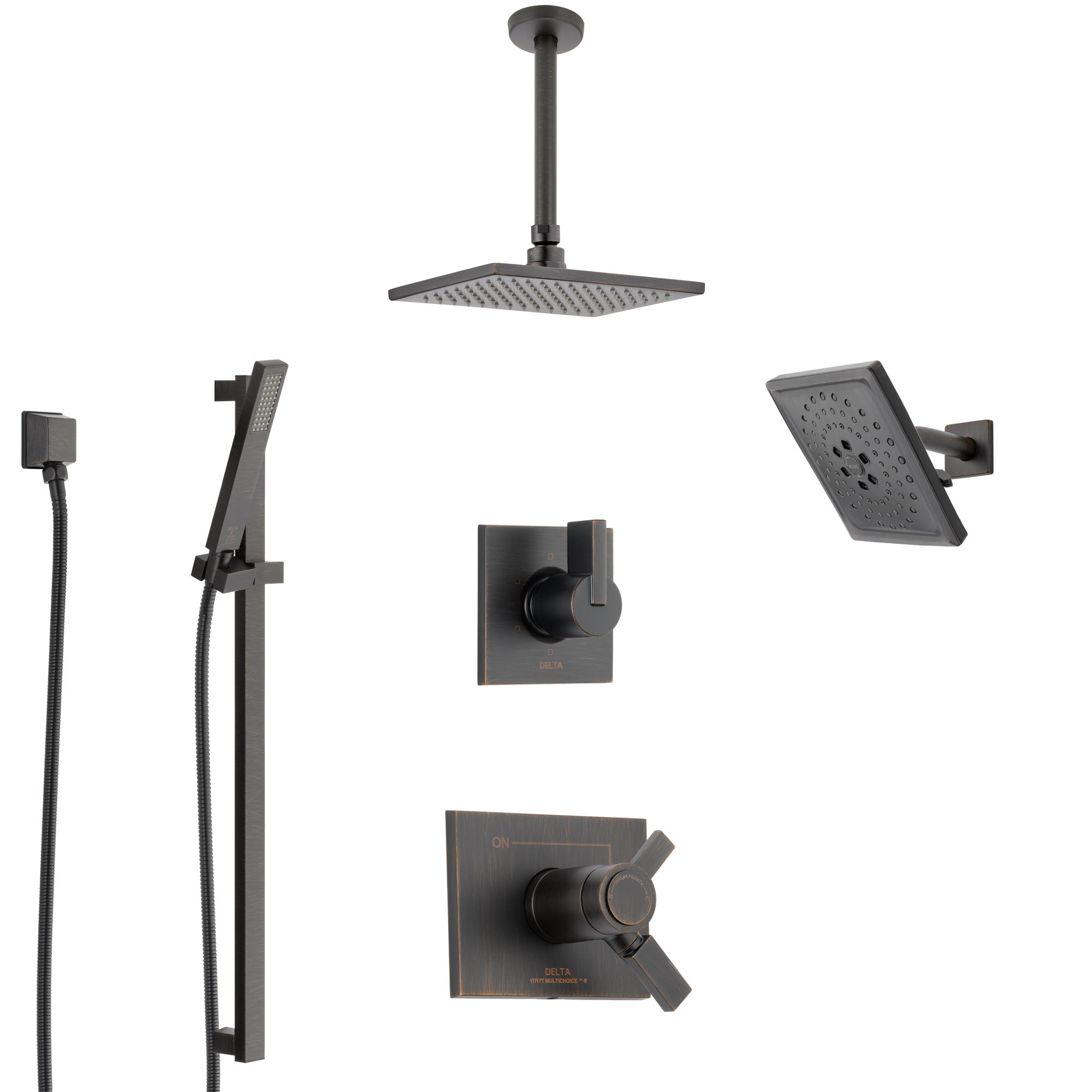 Delta Vero Venetian Bronze Shower System with Dual Thermostatic Control, Diverter, Showerhead, Ceiling Mount Showerhead, and Hand Shower SS17T532RB8