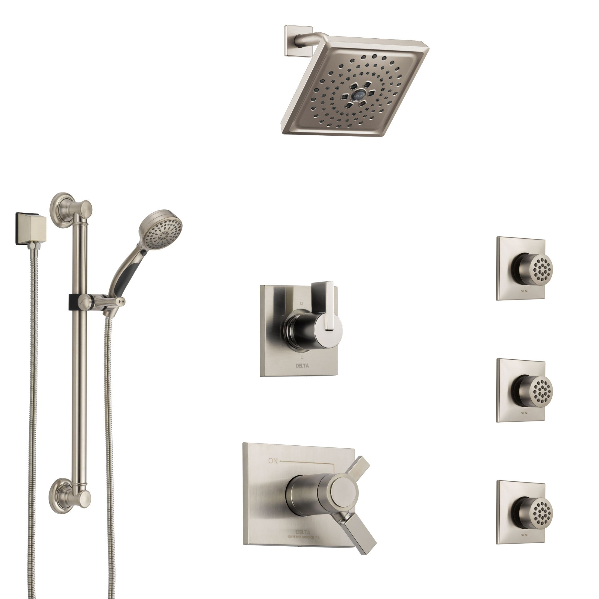 Delta Vero Dual Thermostatic Control Stainless Steel Finish Shower System, Diverter, Showerhead, 3 Body Sprays, and Grab Bar Hand Shower SS17T532SS2