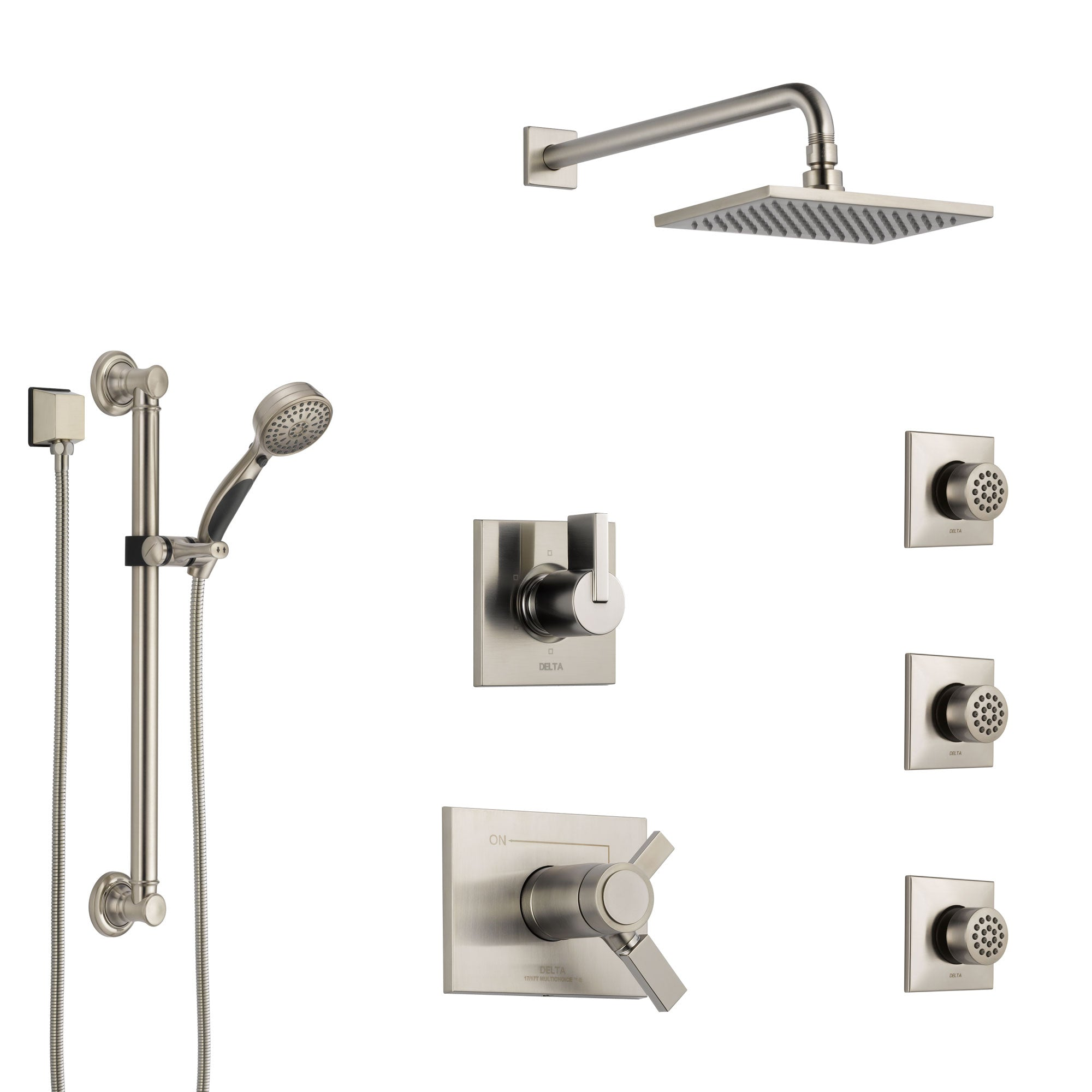 Delta Vero Dual Thermostatic Control Stainless Steel Finish Shower System, Diverter, Showerhead, 3 Body Sprays, and Grab Bar Hand Shower SS17T532SS3