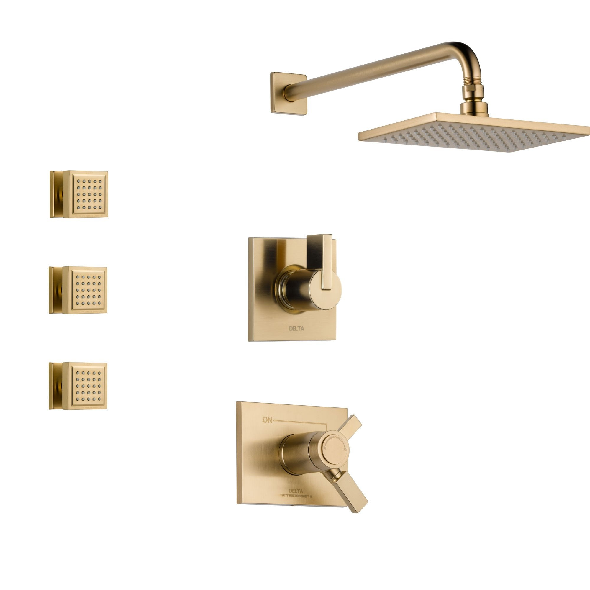 Delta Vero Champagne Bronze Shower System with Thermostatic Shower Handle, 3-setting Diverter, Modern Square Rain Showerhead, and 3 Body Sprays SS17T5381CZ
