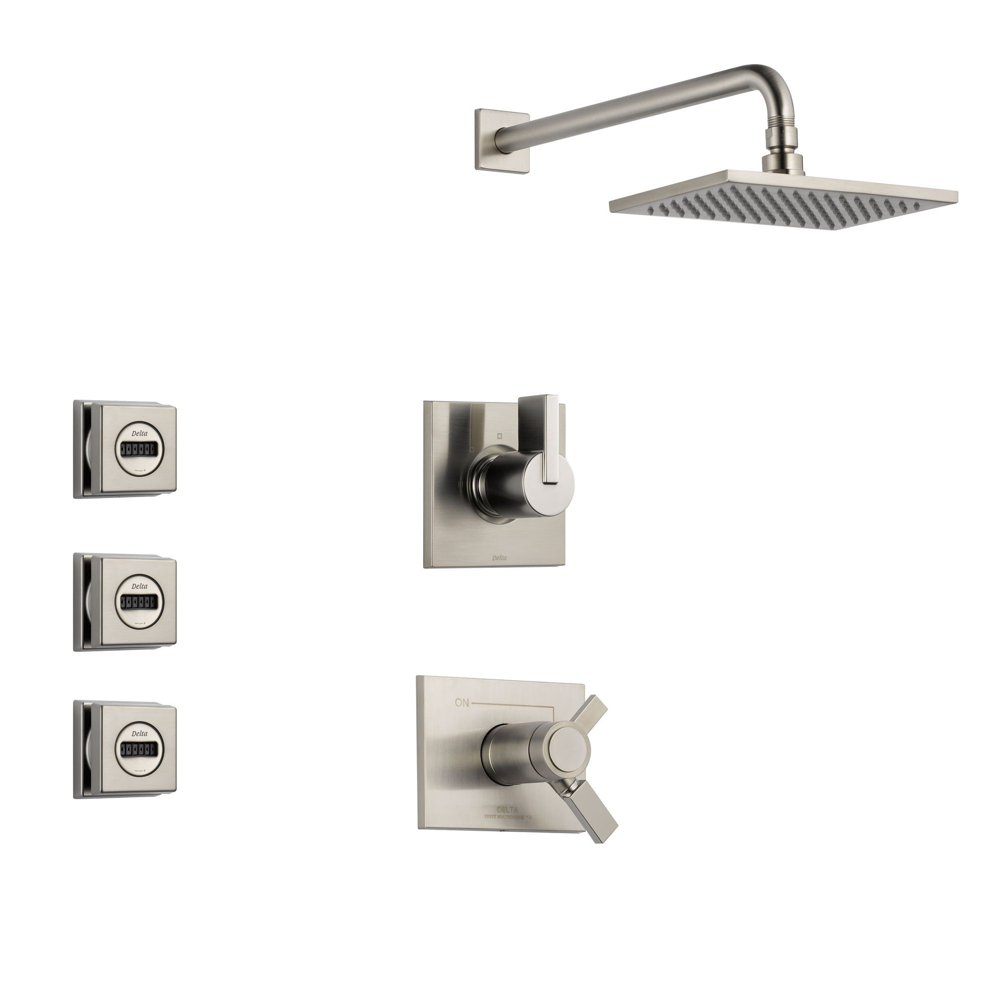 Delta Vero Stainless Steel Shower System with Thermostatic Shower Handle, 3-setting Diverter, Large Square Rain Showerhead, and 3 Modern Body Sprays SS17T5381SS