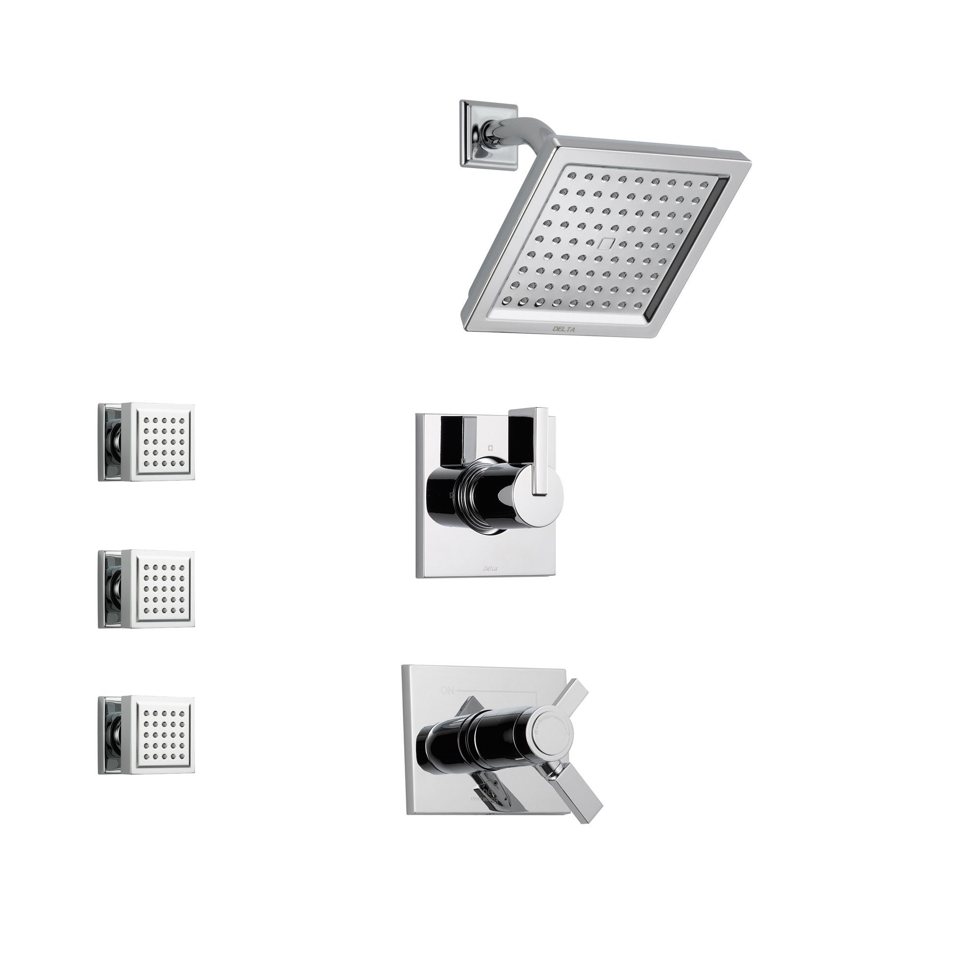 Delta Vero Chrome Shower System with Thermostatic Shower Handle, 3-setting Diverter, Modern Square Showerhead, and 3 Square Body Sprays SS17T5382