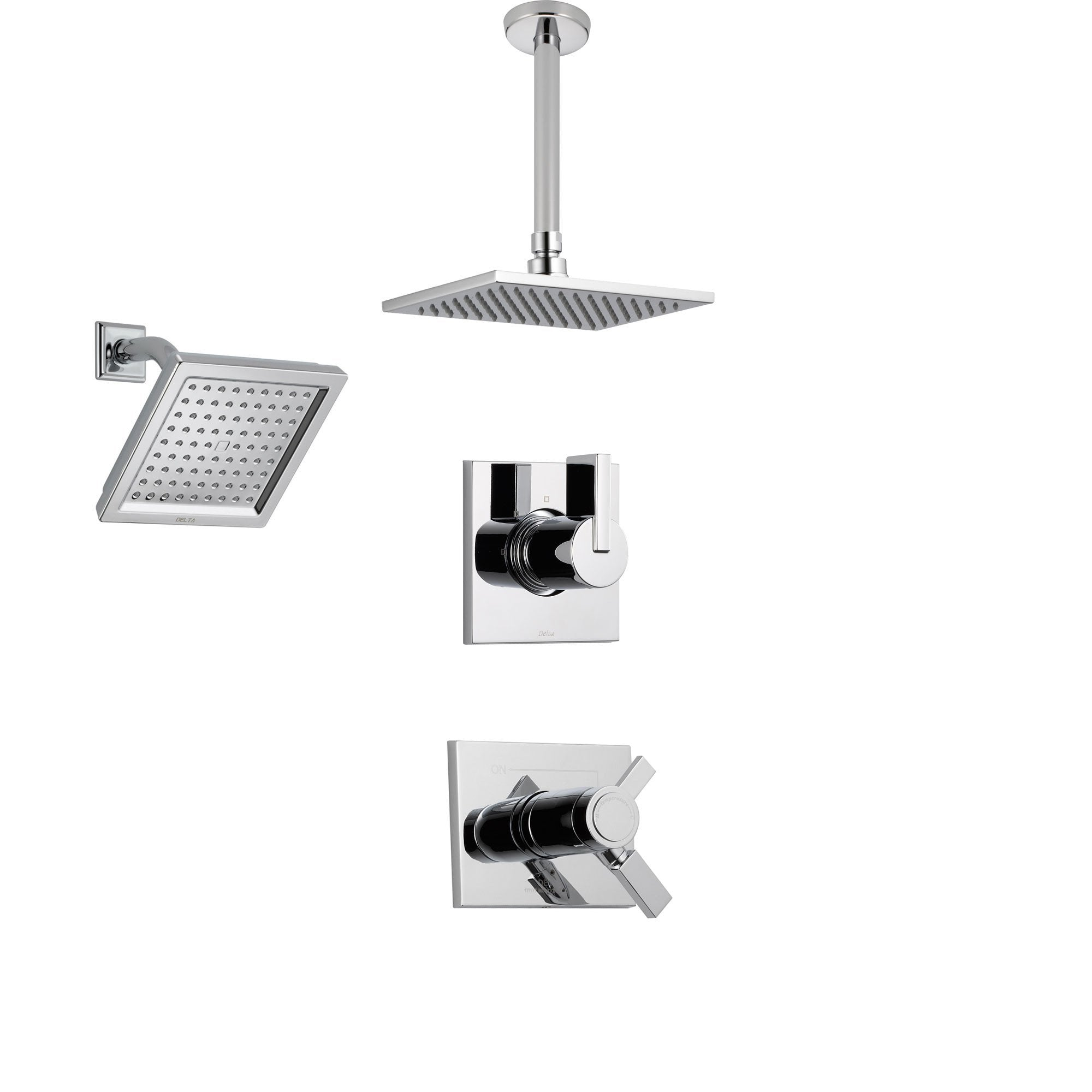 Delta Vero Chrome Shower System with Thermostatic Shower Handle, 3-setting Diverter, Large Square Ceiling Mount Rain Showerhead, and Wall Mount Showerhead SS17T5383