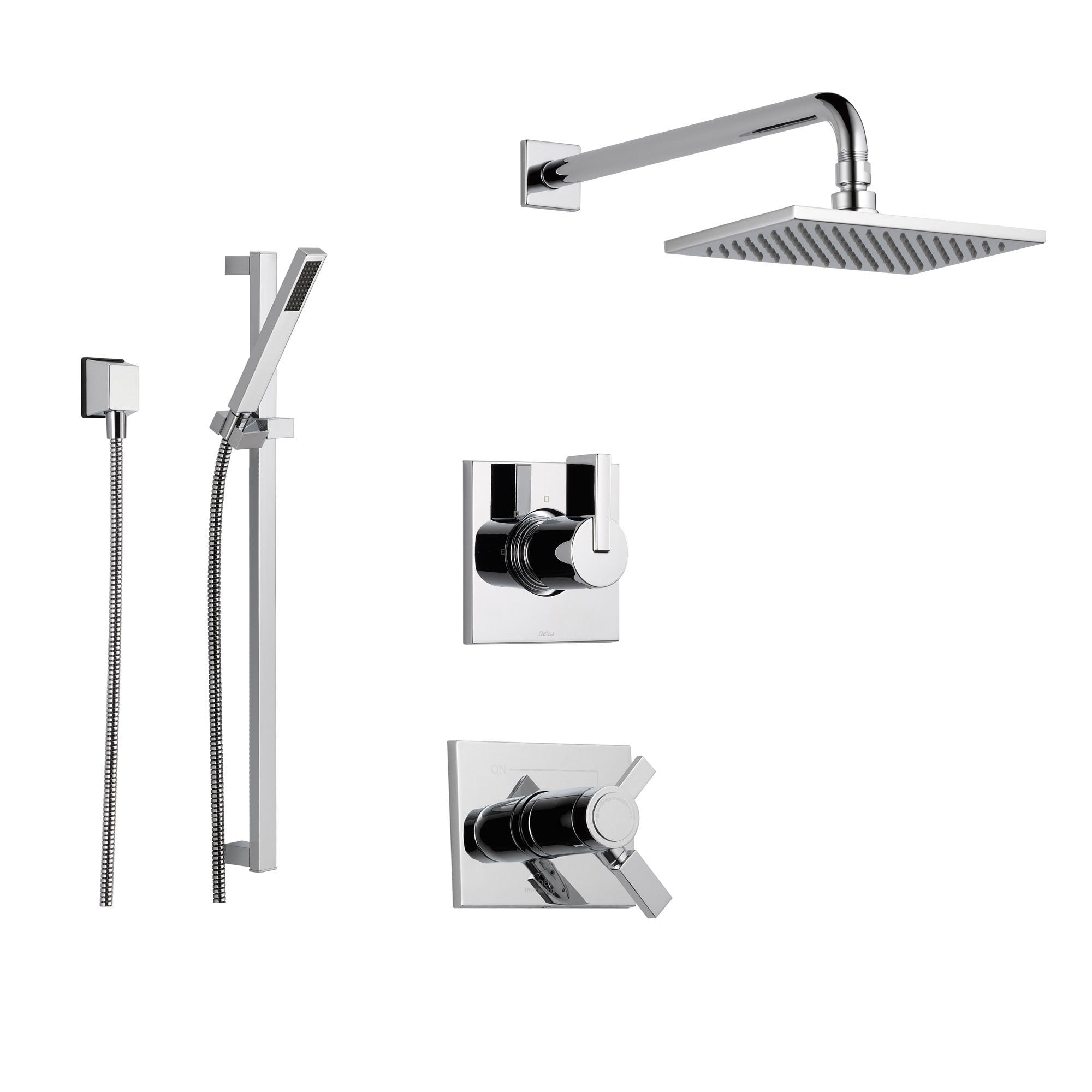 Delta Vero Chrome Shower System With Thermostatic Shower Handle 3 Setting Diverter Large Square Rain Showerhead And Handheld Shower Ss17t5384