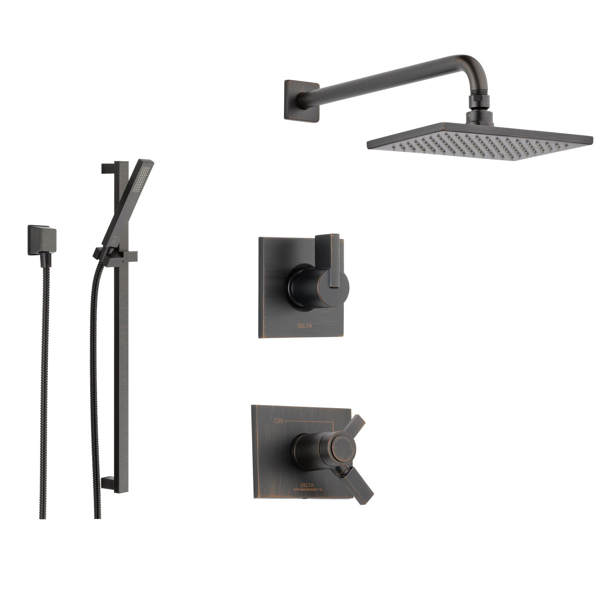 Delta Vero Venetian Bronze Shower System With Thermostatic Shower Handle 3 Setting Diverter Large Rain Square Showerhead And Handheld Shower Spray