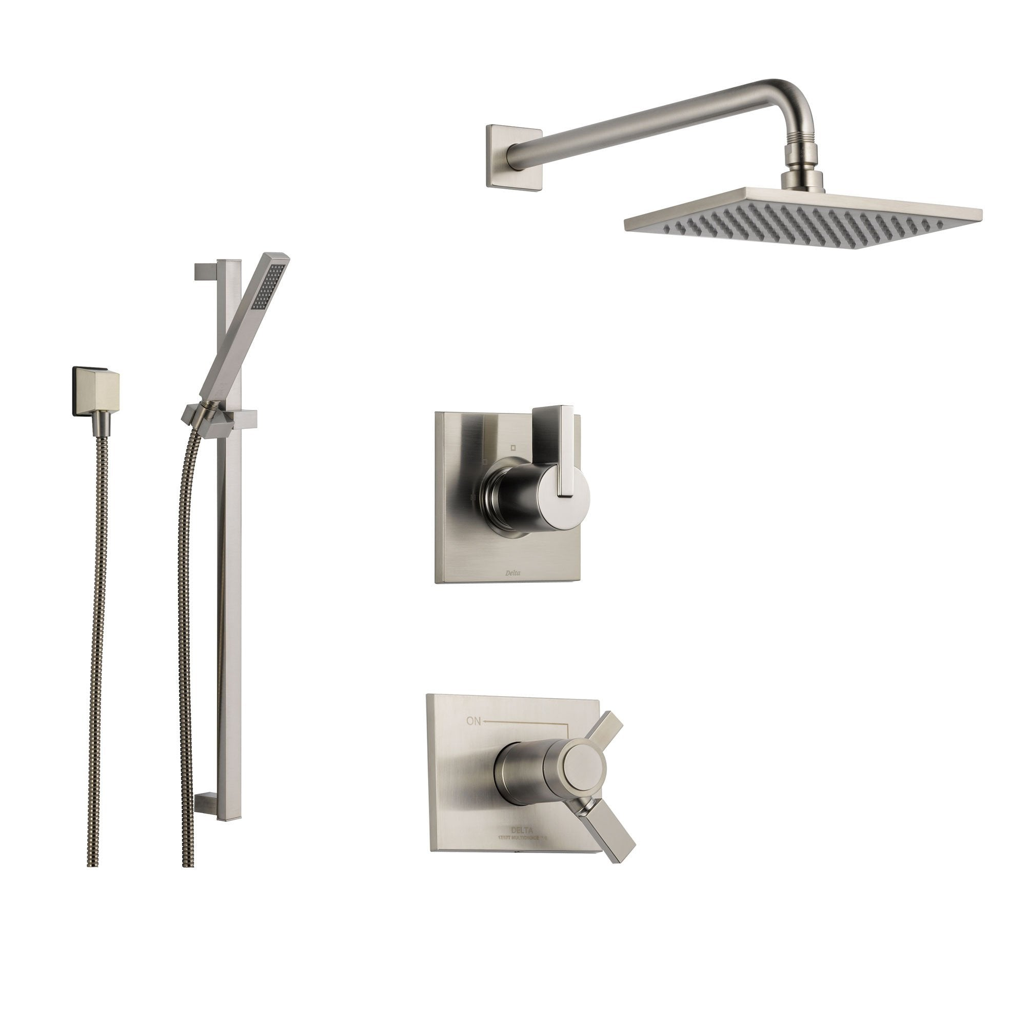 Delta Vero Stainless Steel Shower System With Thermostatic Shower Handle 3 Setting Diverter Large Square Rain Showerhead And Modern Handheld Shower