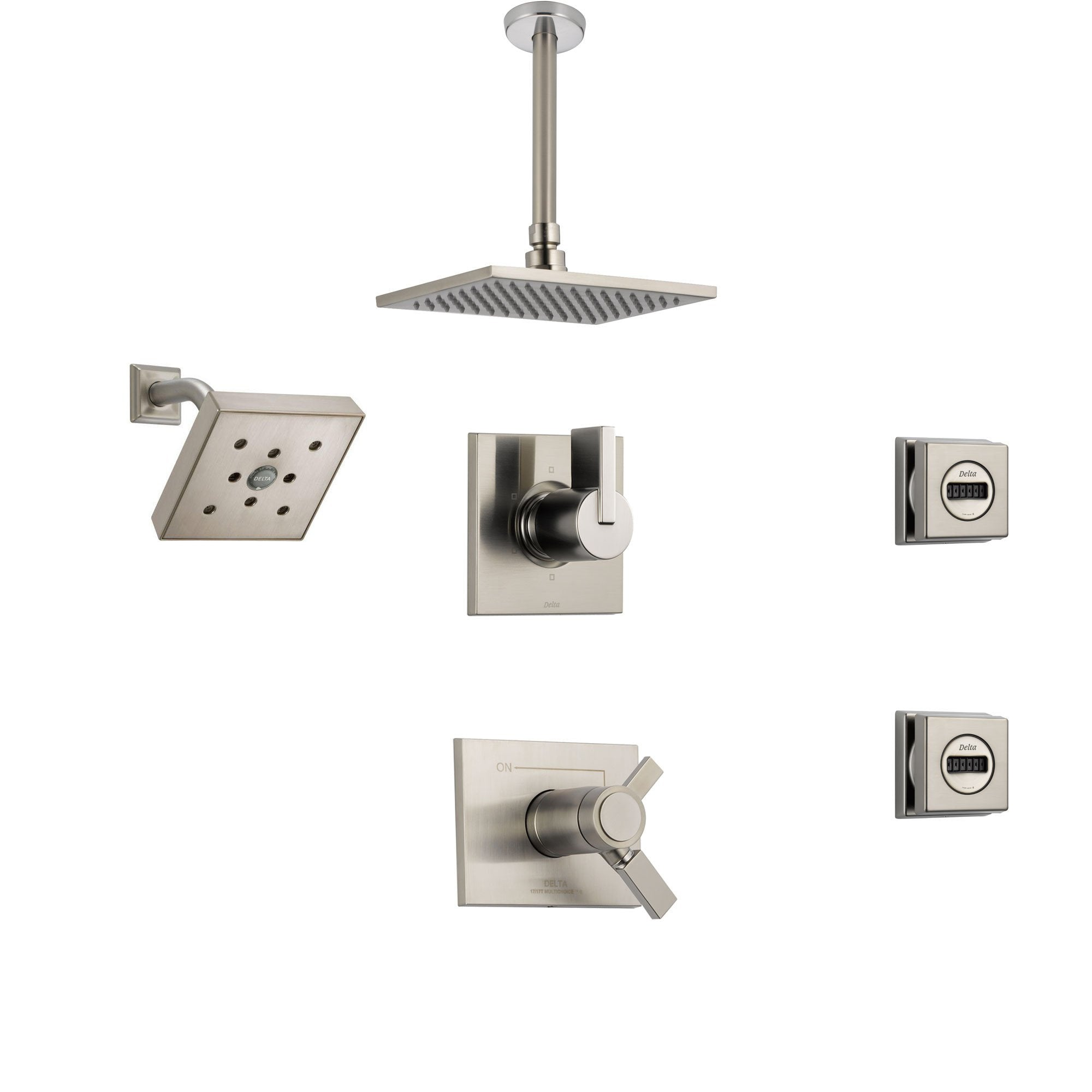 Delta Vero Stainless Steel Shower System with Thermostatic Shower Handle, 6-setting Diverter, Large Square Rain Showerhead, Modern Wall Mount Showerhead, and 2 Body Sprays SS17T5395SS