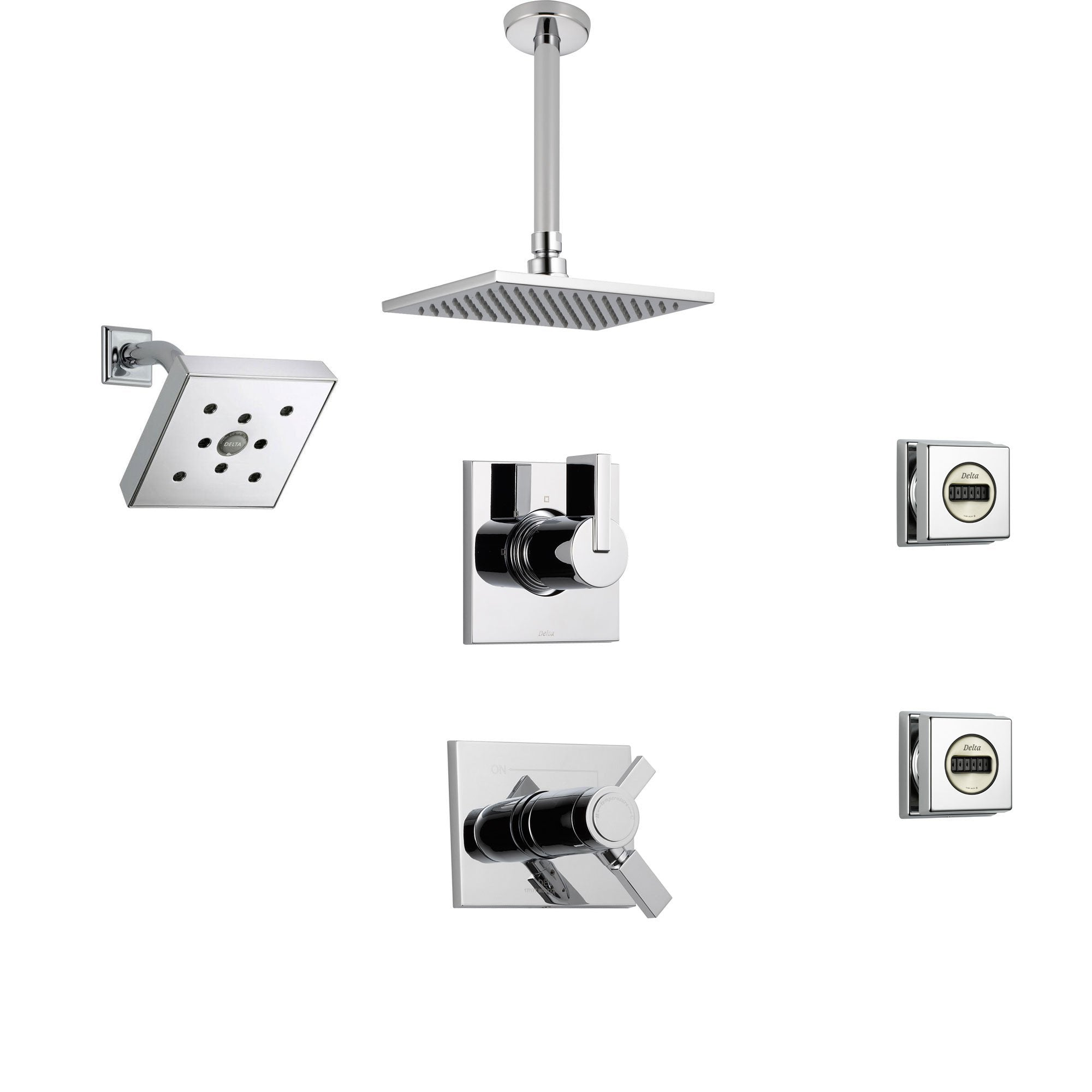 Delta Vero Chrome Shower System with Thermostatic Shower Handle, 6-setting Diverter, Square Ceiling Mount Showerhead, Wall Mount Modern Showerhead, and 2 Body Sprays SS17T5395