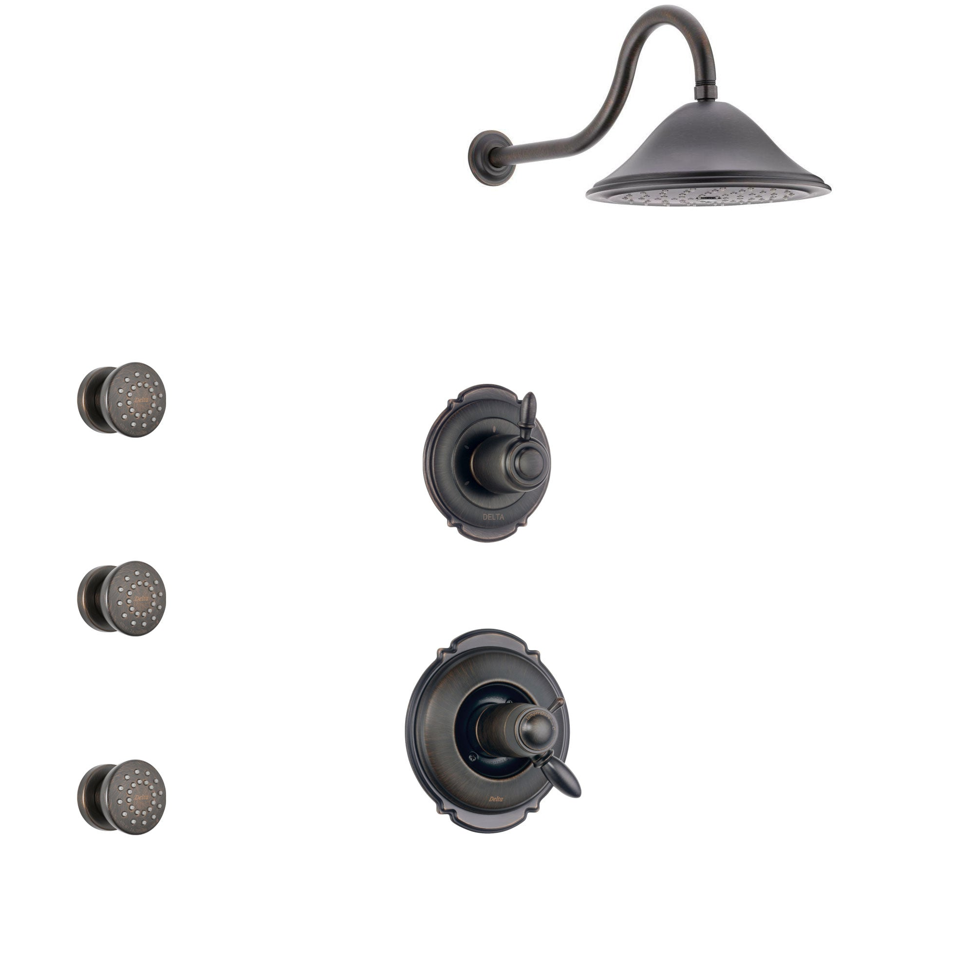Delta Victorian Venetian Bronze Shower System with Dual Thermostatic Control Handle, 3-Setting Diverter, Showerhead, and 3 Body Sprays SS17T551RB1