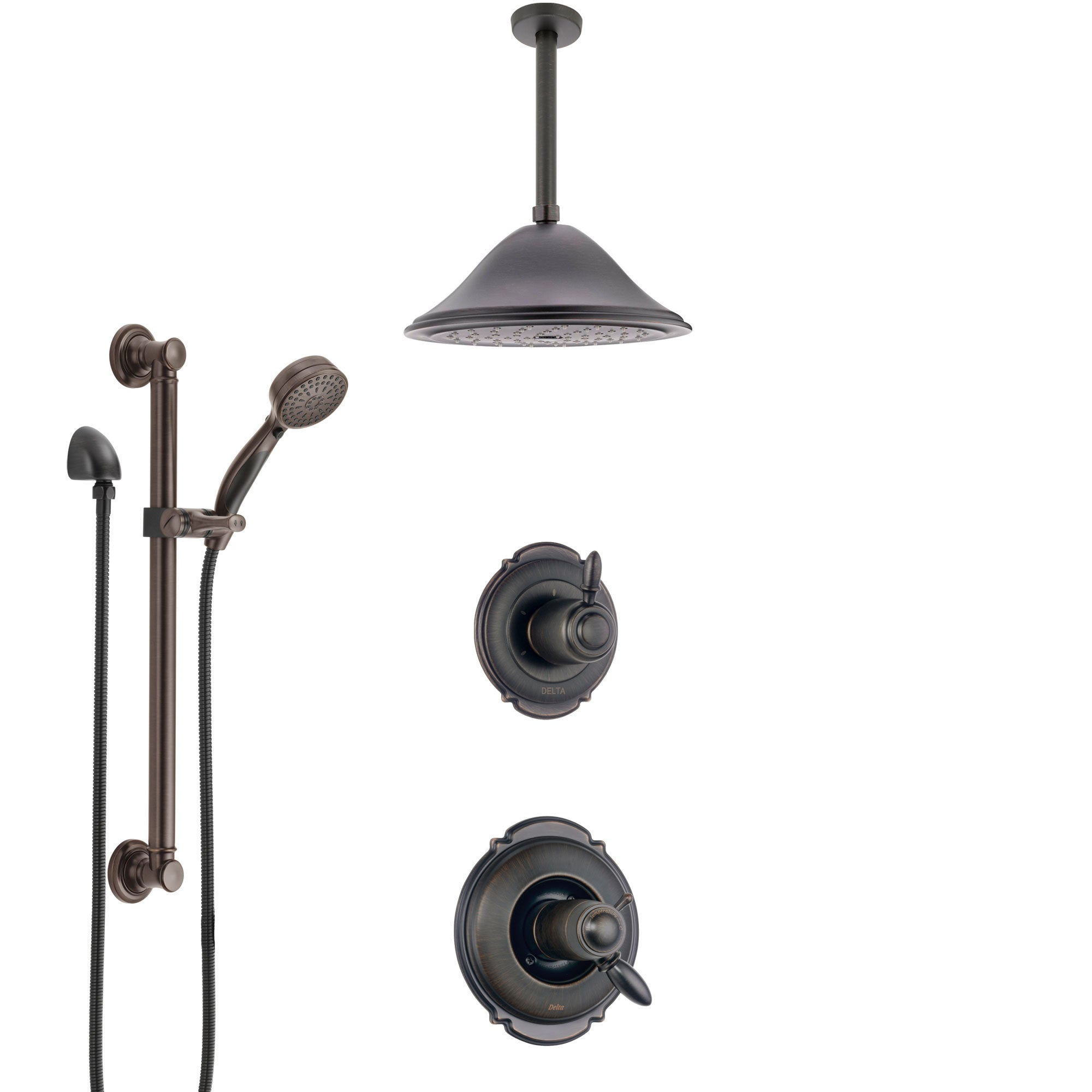 Delta Victorian Venetian Bronze Shower System with Dual Thermostatic Control, Diverter, Ceiling Mount Showerhead, and Grab Bar Hand Shower SS17T551RB3