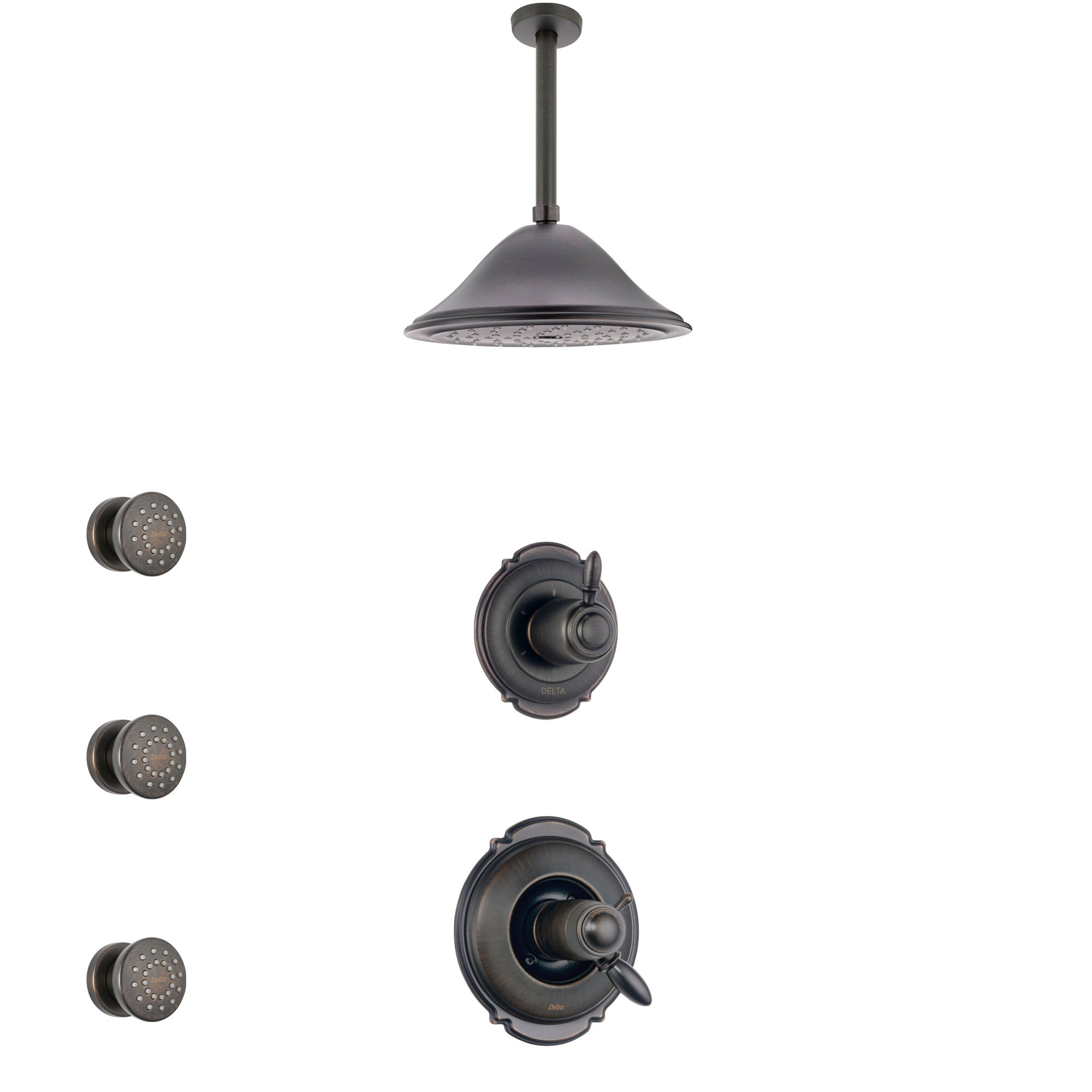 Delta Victorian Venetian Bronze Shower System with Dual Thermostatic Control Handle, Diverter, Ceiling Mount Showerhead, and 3 Body Sprays SS17T551RB4