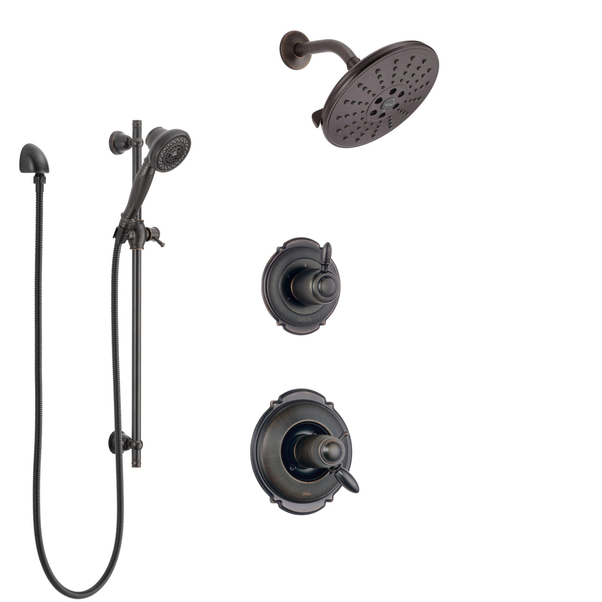 Delta Victorian Venetian Bronze Shower System with Dual Thermostatic Control Handle, Diverter, Showerhead, and Hand Shower with Slidebar SS17T551RB8