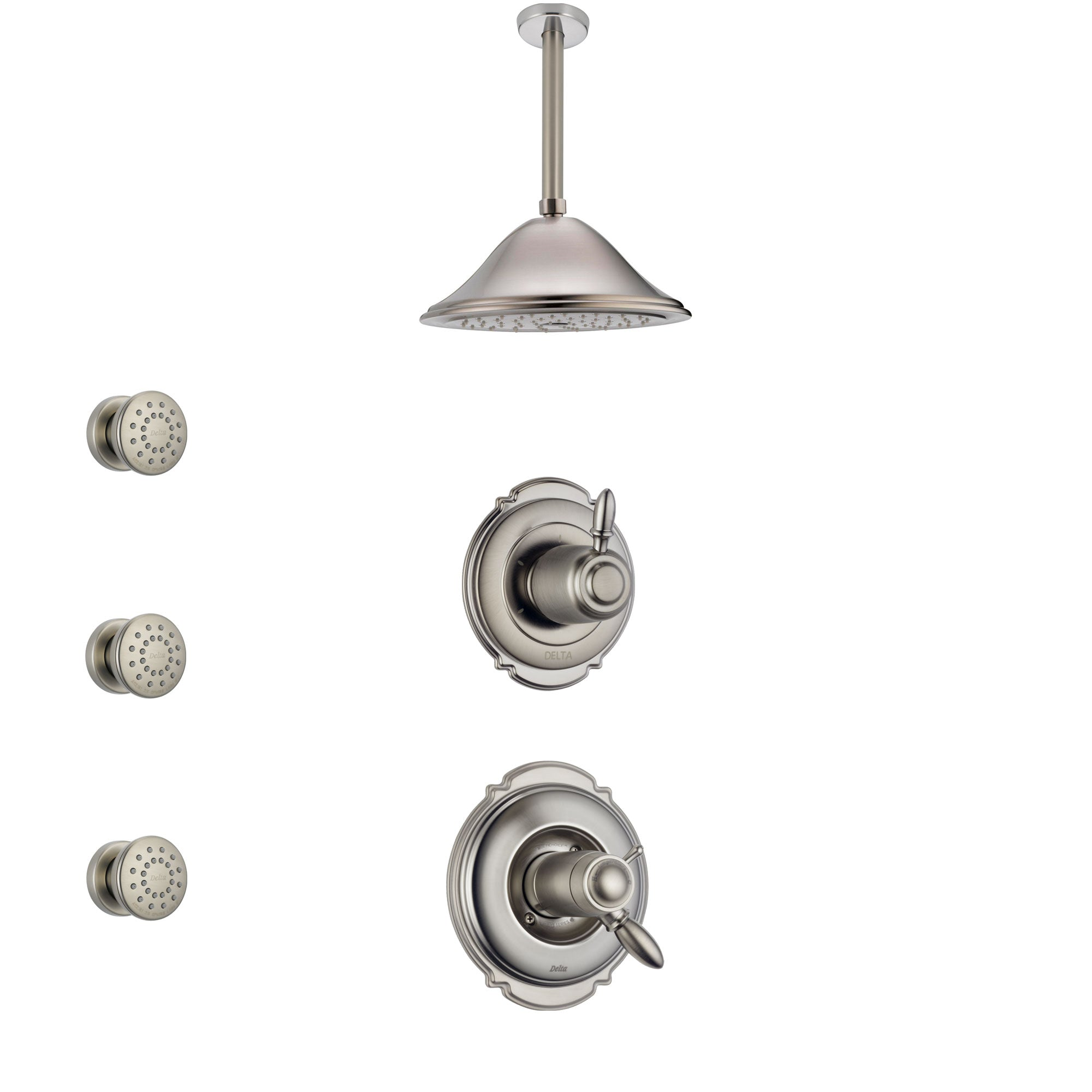 Delta Victorian Dual Thermostatic Control Stainless Steel Finish Shower System, Diverter, Ceiling Mount Showerhead, and 3 Body Sprays SS17T551SS3