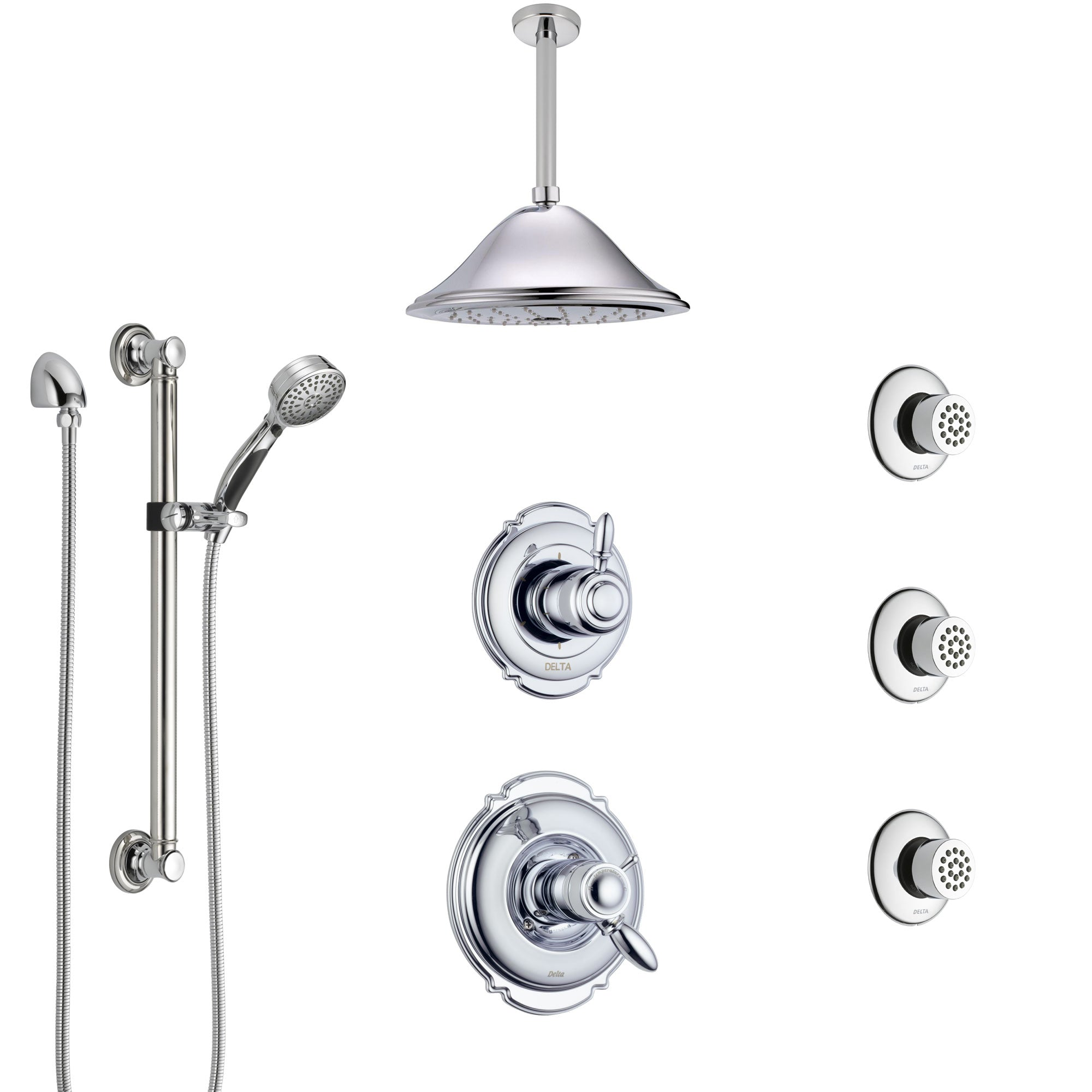 Delta Victorian Chrome Shower System with Dual Thermostatic Control, Diverter, Ceiling Showerhead, 3 Body Sprays, and Grab Bar Hand Shower SS17T5527