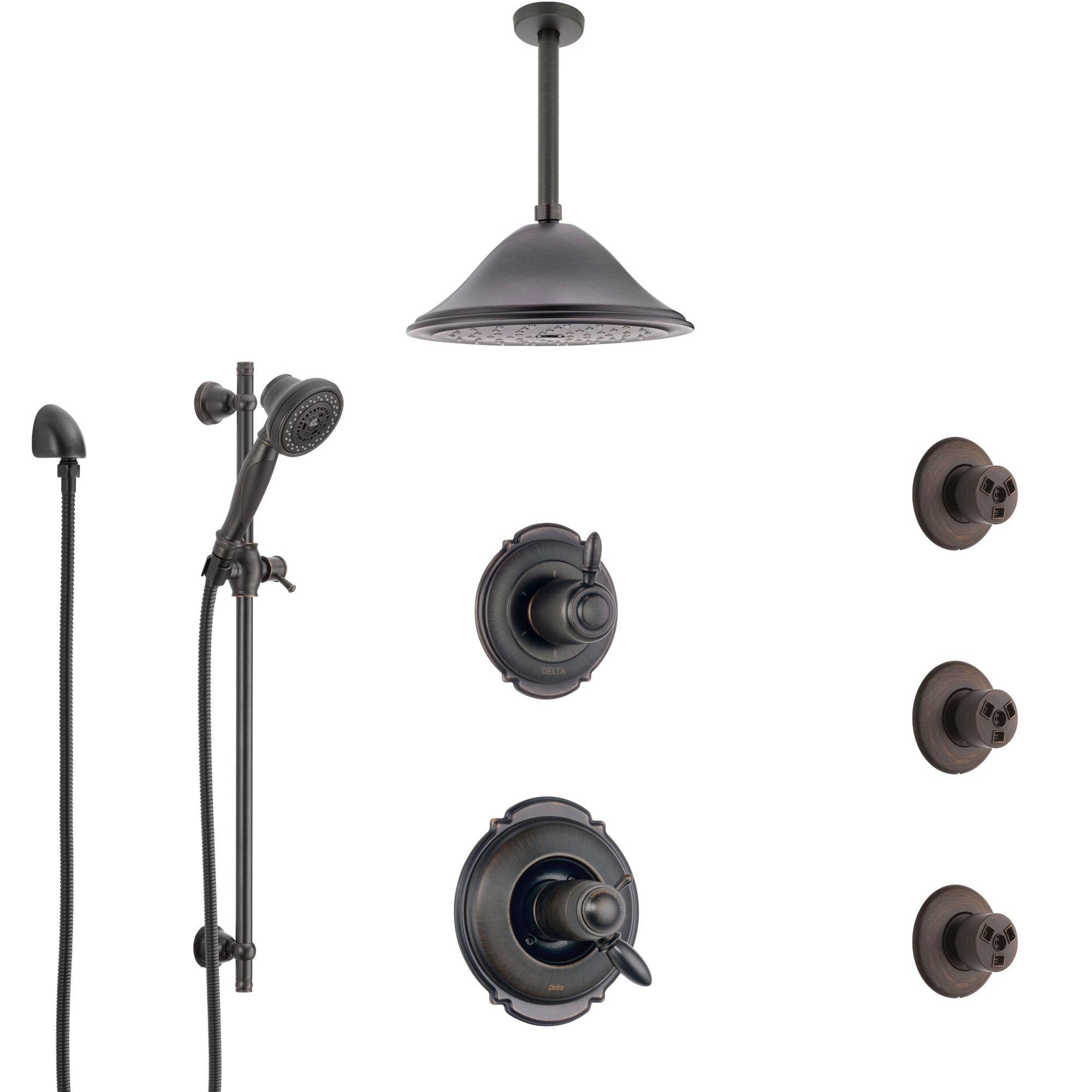 Delta Victorian Venetian Bronze Shower System with Dual Thermostatic Control, Diverter, Ceiling Showerhead, 3 Body Sprays, and Hand Shower SS17T552RB7