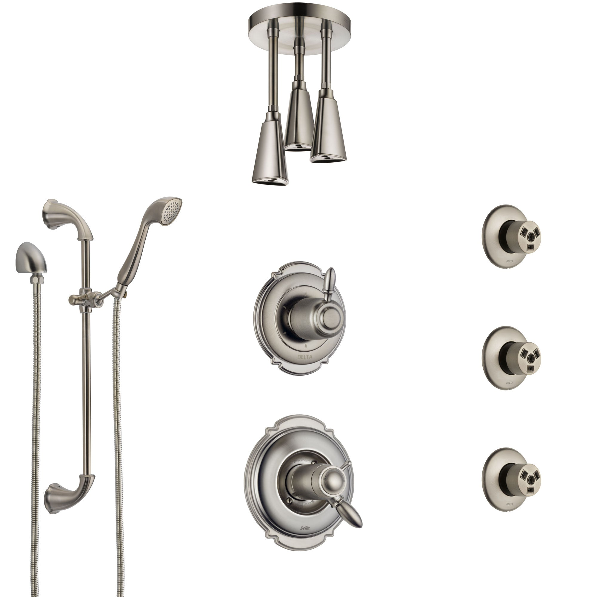 Delta Victorian Dual Thermostatic Control Stainless Steel Finish Shower System, Diverter, Ceiling Showerhead, 3 Body Sprays, Hand Spray SS17T552SS3