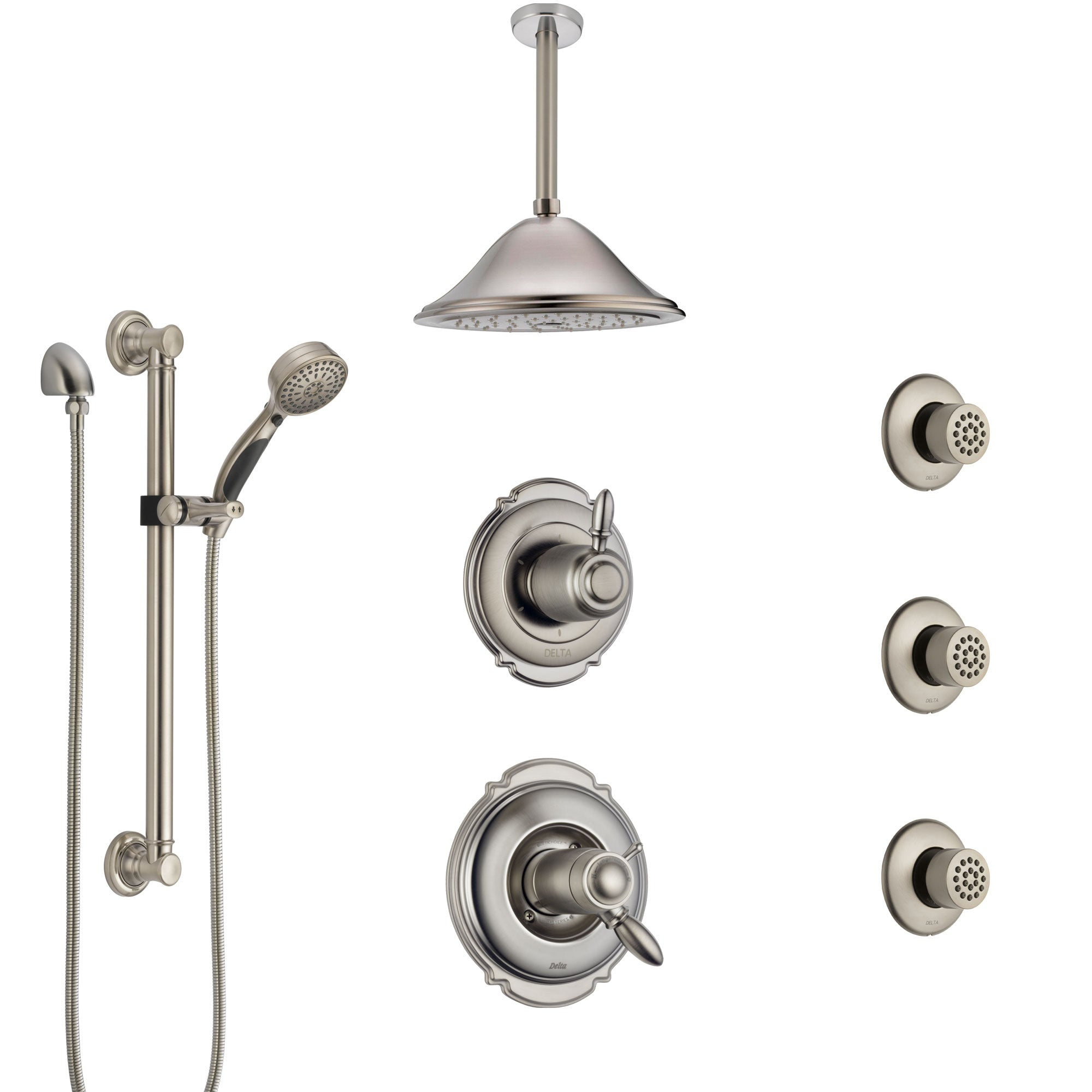Delta Victorian Dual Thermostatic Control Stainless Steel Finish Shower System with Ceiling Showerhead, 3 Body Jets, Grab Bar Hand Spray SS17T552SS7