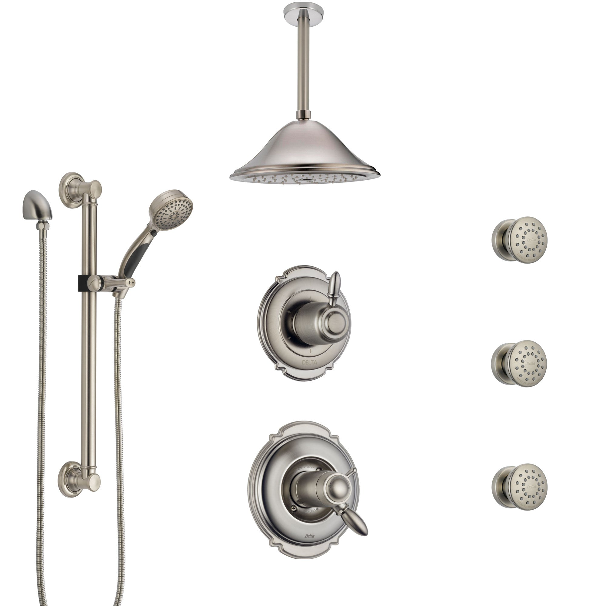 Delta Victorian Dual Thermostatic Control Stainless Steel Finish Shower System with Ceiling Showerhead, 3 Body Jets, Grab Bar Hand Spray SS17T552SS8