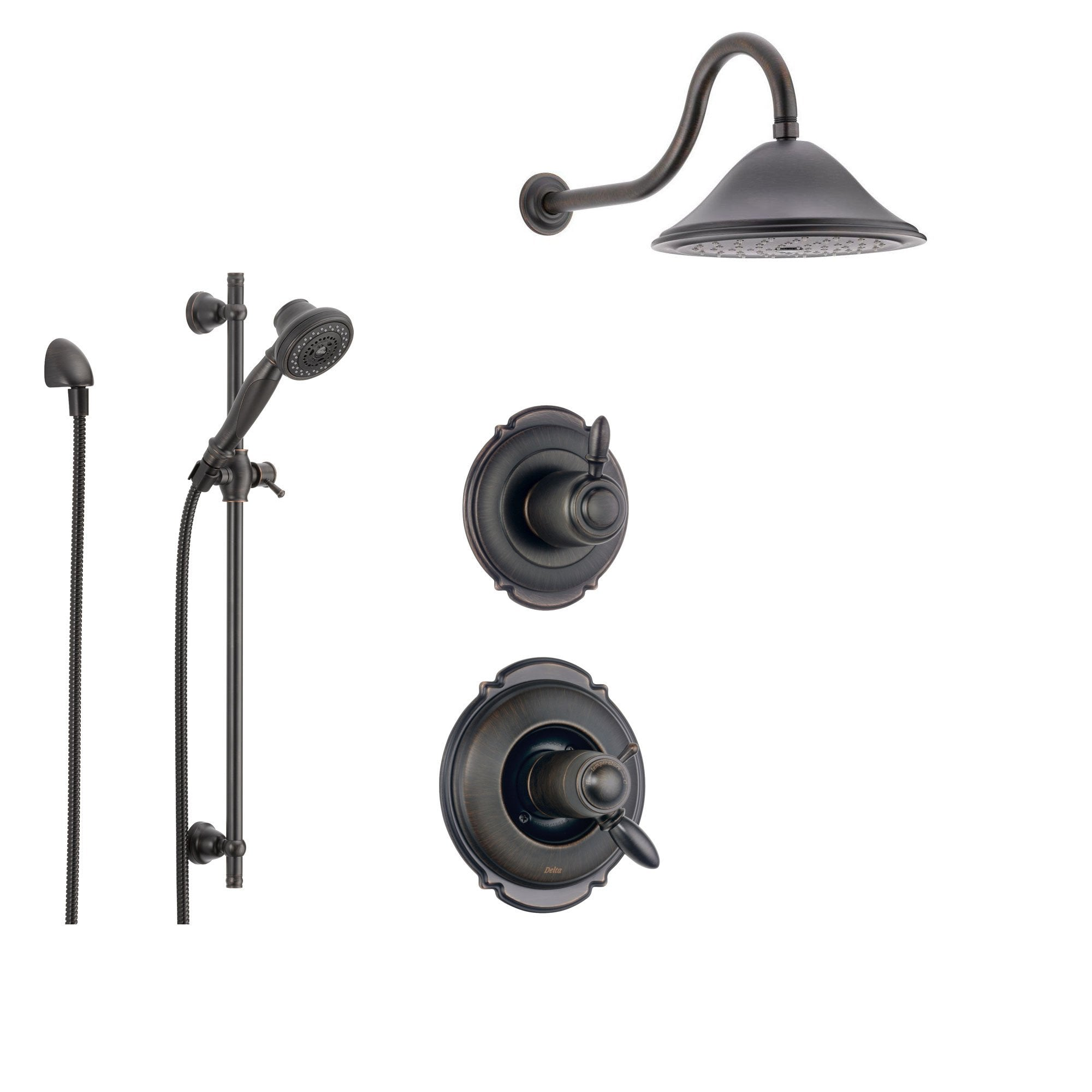 Delta Victorian Venetian Bronze Shower System with Thermostatic Shower Handle, 3-setting Diverter, Large Rain Showerhead, and Handheld Shower SS17T5582RB