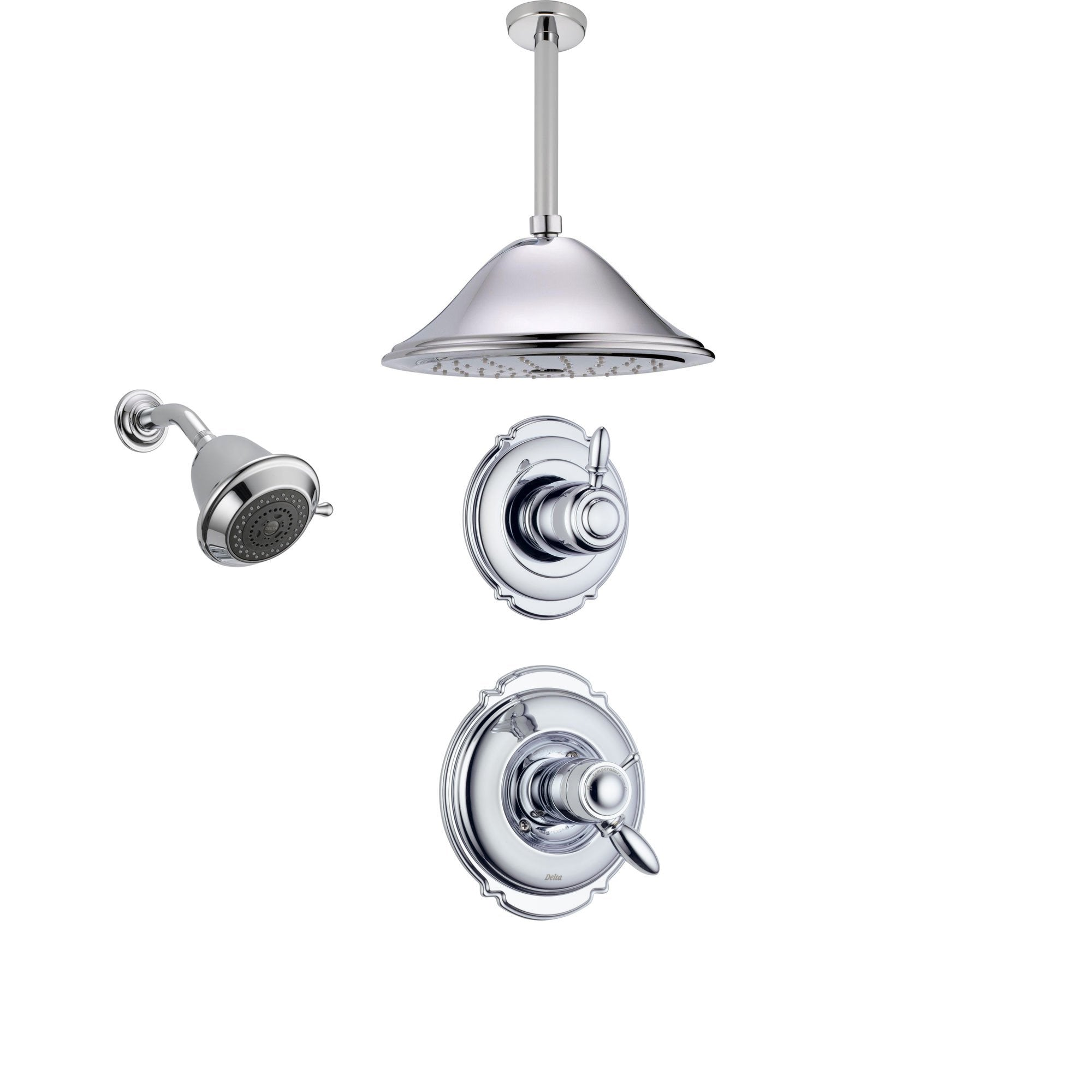 Delta Victorian Chrome Shower System with Thermostatic Shower Handle, 3-setting Diverter, Large Ceiling Mount Rain Showerhead, and Wall Mount Showerhead SS17T5583