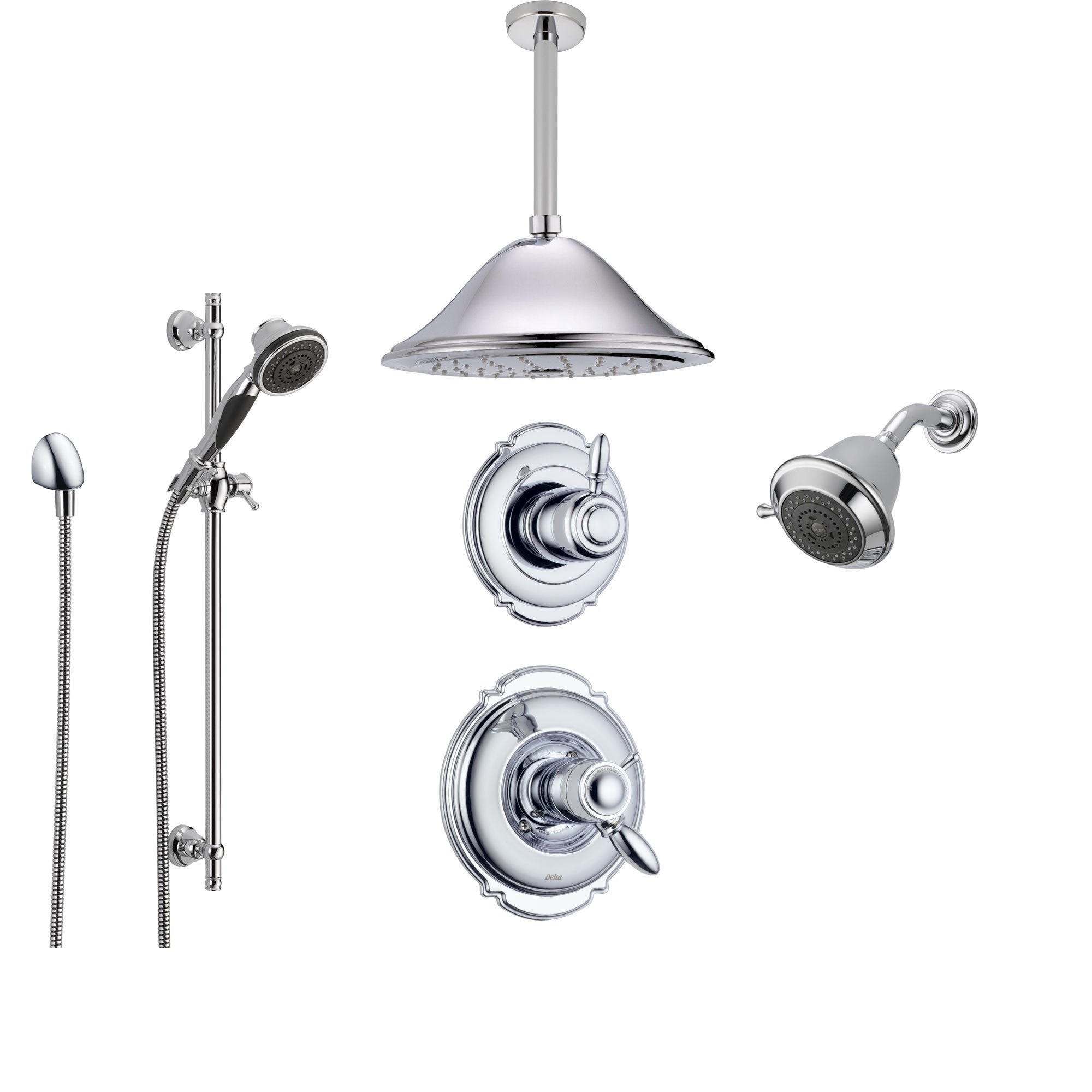 Delta Victorian Chrome Shower System With Thermostatic Shower Handle 6 Setting Diverter Large Ceiling Mount Rain Showerhead Handheld Shower And