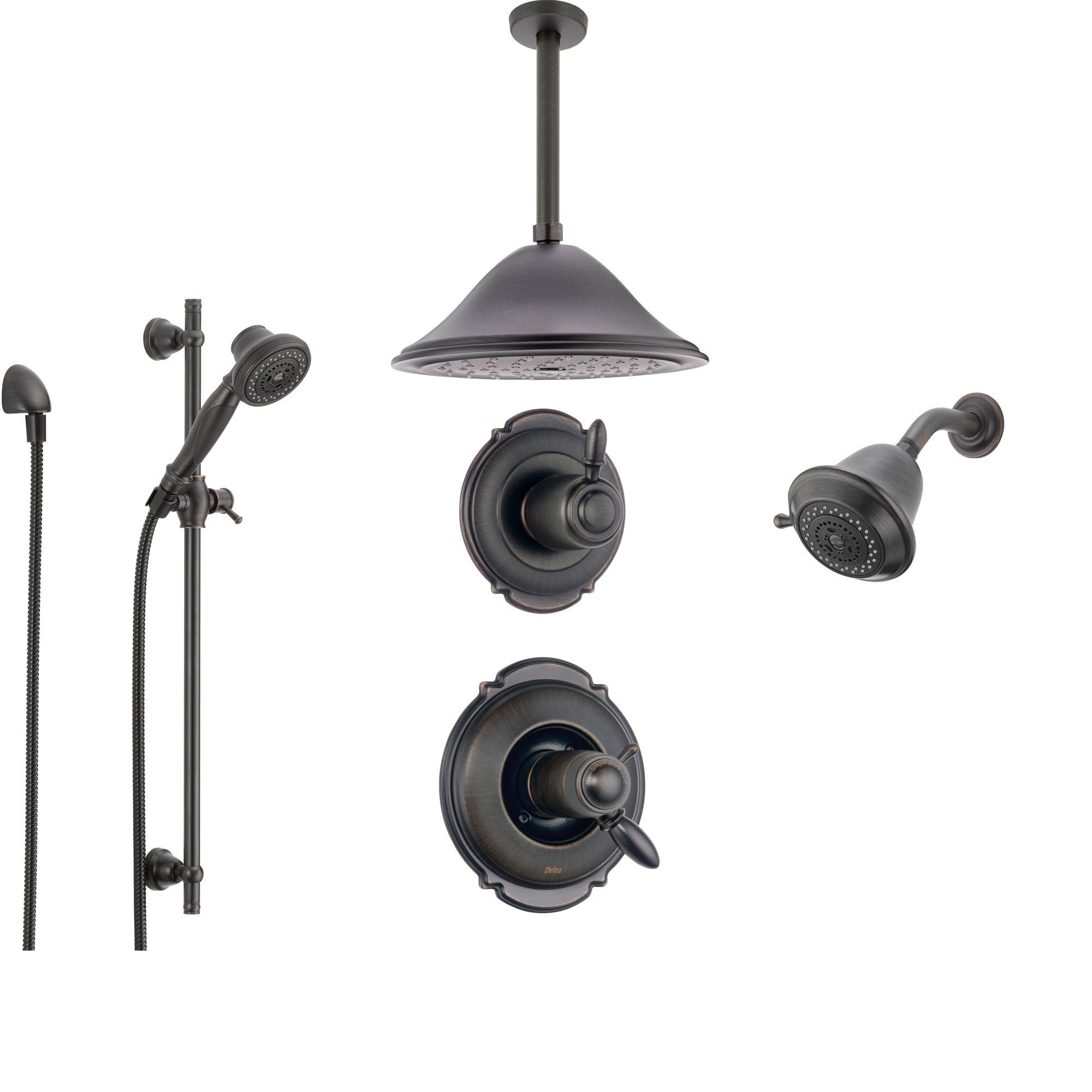 Delta Victorian Venetian Bronze Shower System with Thermostatic Shower Handle, 6-setting Diverter, Large Ceiling Mount Showerhead, Handheld Shower, and Wall Mount Showerhead SS17T5594RB