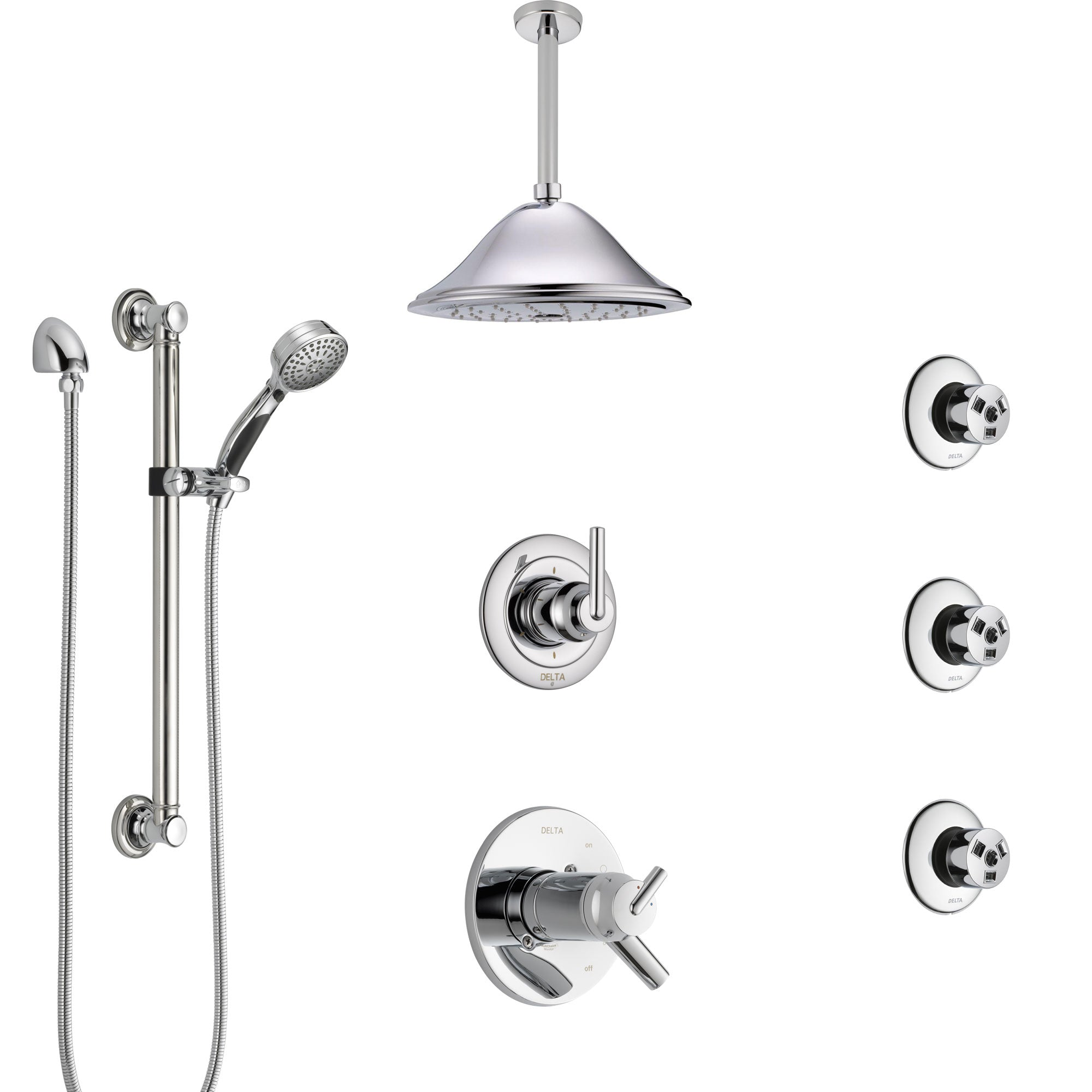 Delta Trinsic Chrome Shower System with Dual Thermostatic Control, Diverter, Ceiling Showerhead, 3 Body Sprays, and Grab Bar Hand Shower SS17T5914