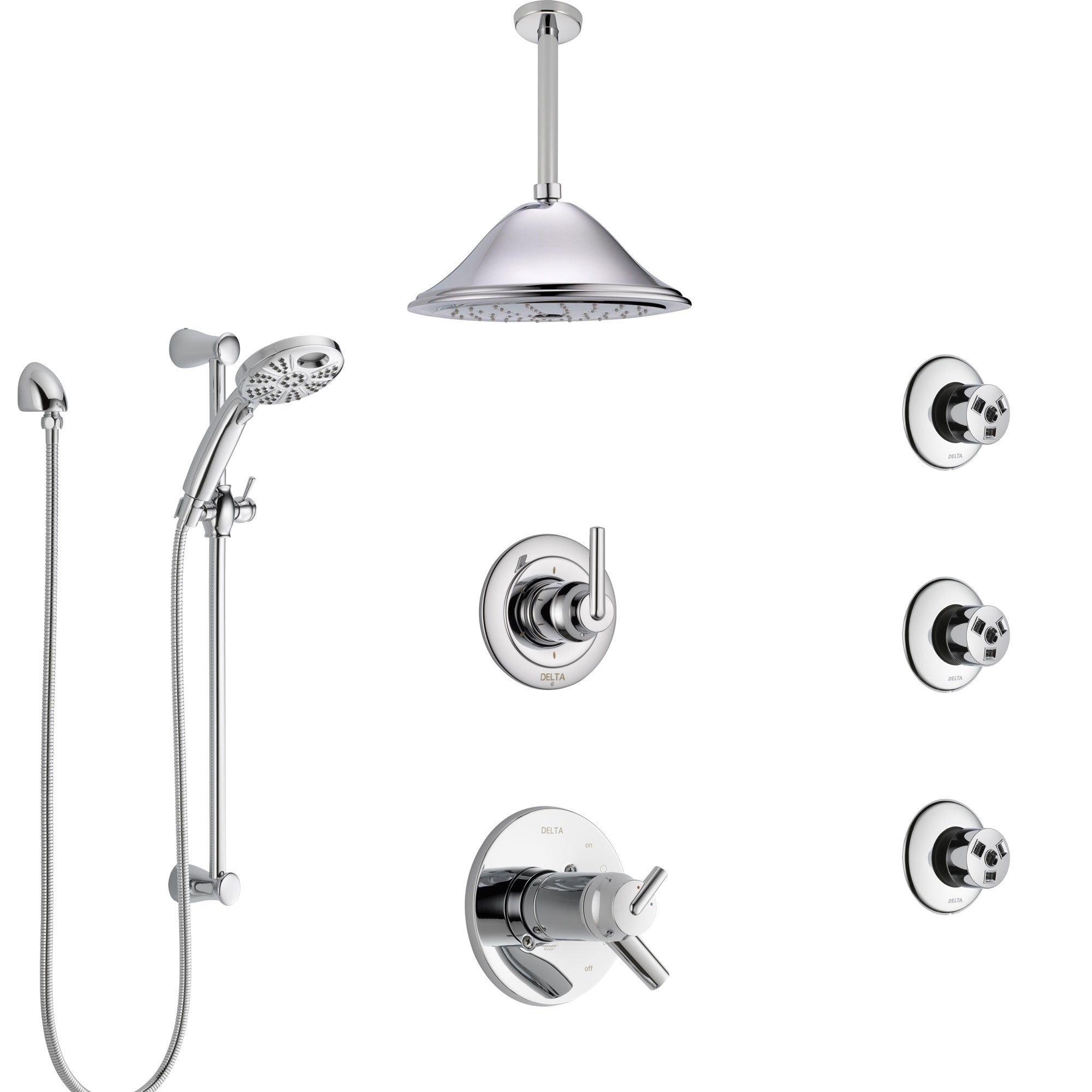 Delta Trinsic Chrome Shower System with Dual Thermostatic Control, Diverter, Ceiling Mount Showerhead, 3 Body Sprays, and Temp2O Hand Shower SS17T5915