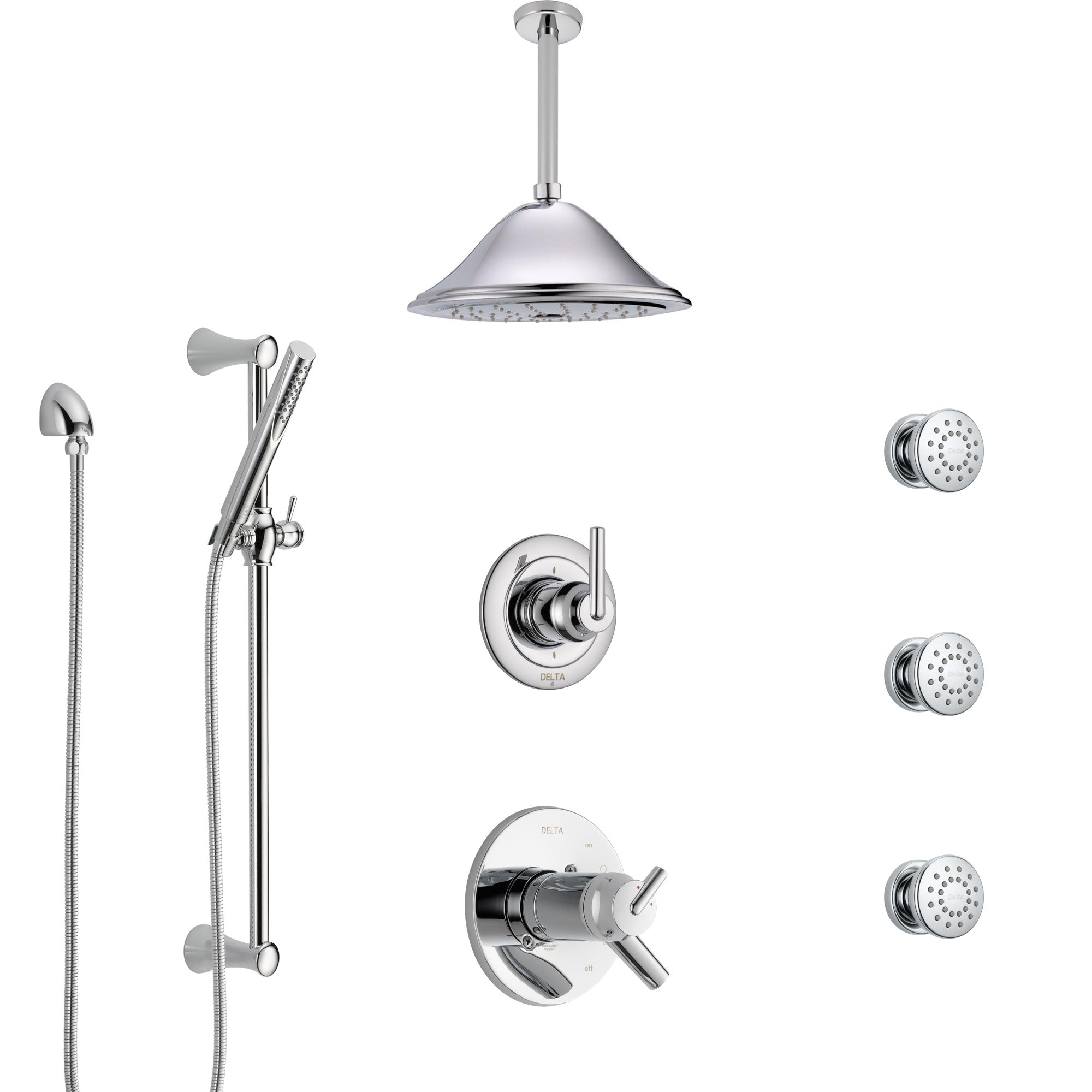 Delta Trinsic Chrome Shower System with Dual Thermostatic Control, Diverter, Ceiling Mount Showerhead, 3 Body Sprays, and Hand Shower SS17T5916