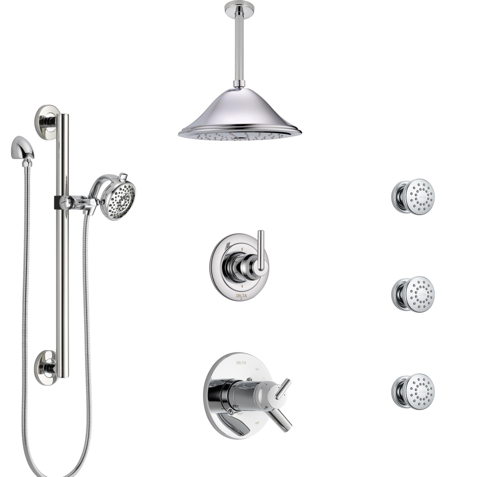 Delta Trinsic Chrome Shower System with Dual Thermostatic Control, Diverter, Ceiling Showerhead, 3 Body Sprays, and Grab Bar Hand Shower SS17T5917