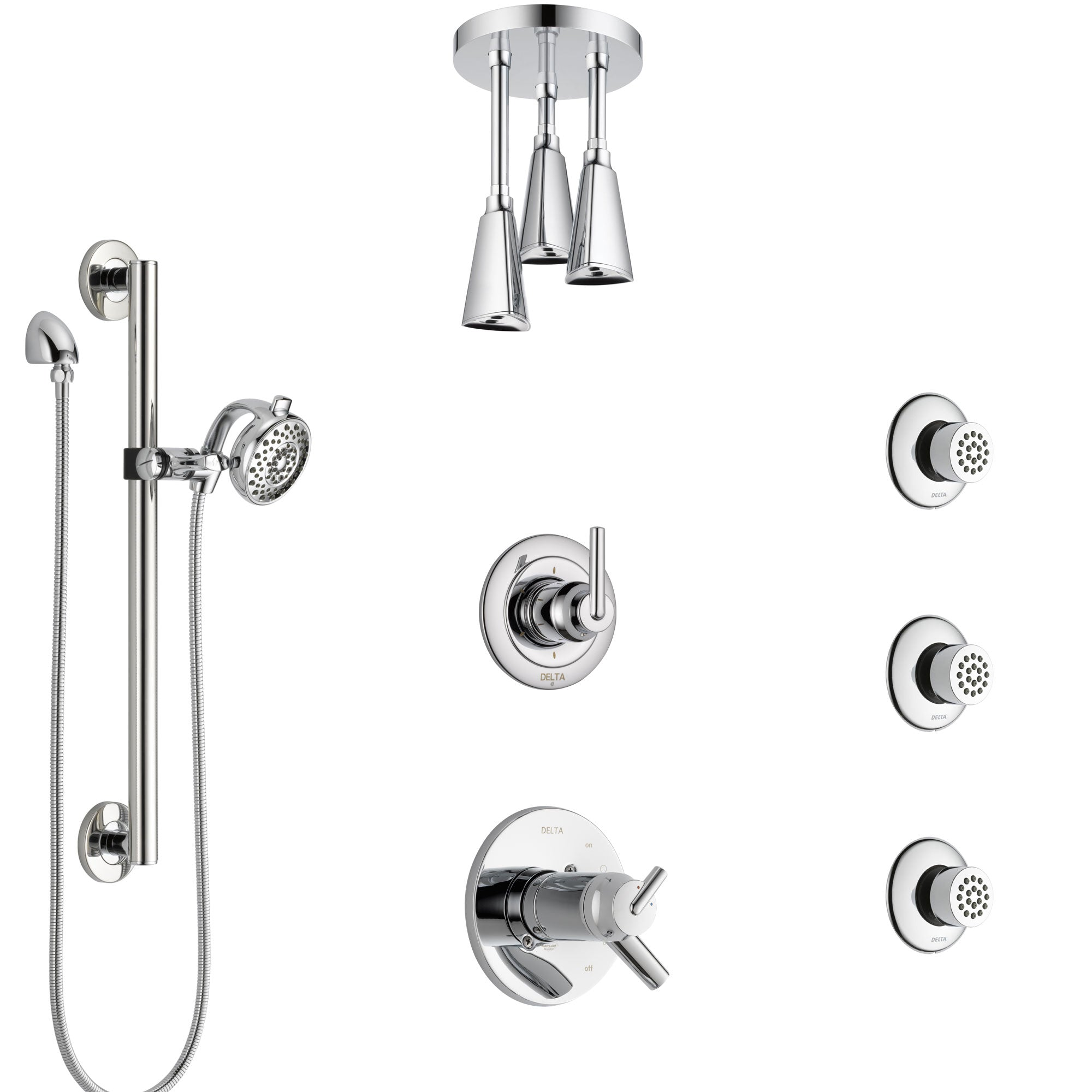 Delta Trinsic Chrome Shower System with Dual Thermostatic Control, Diverter, Ceiling Showerhead, 3 Body Sprays, and Grab Bar Hand Shower SS17T5918