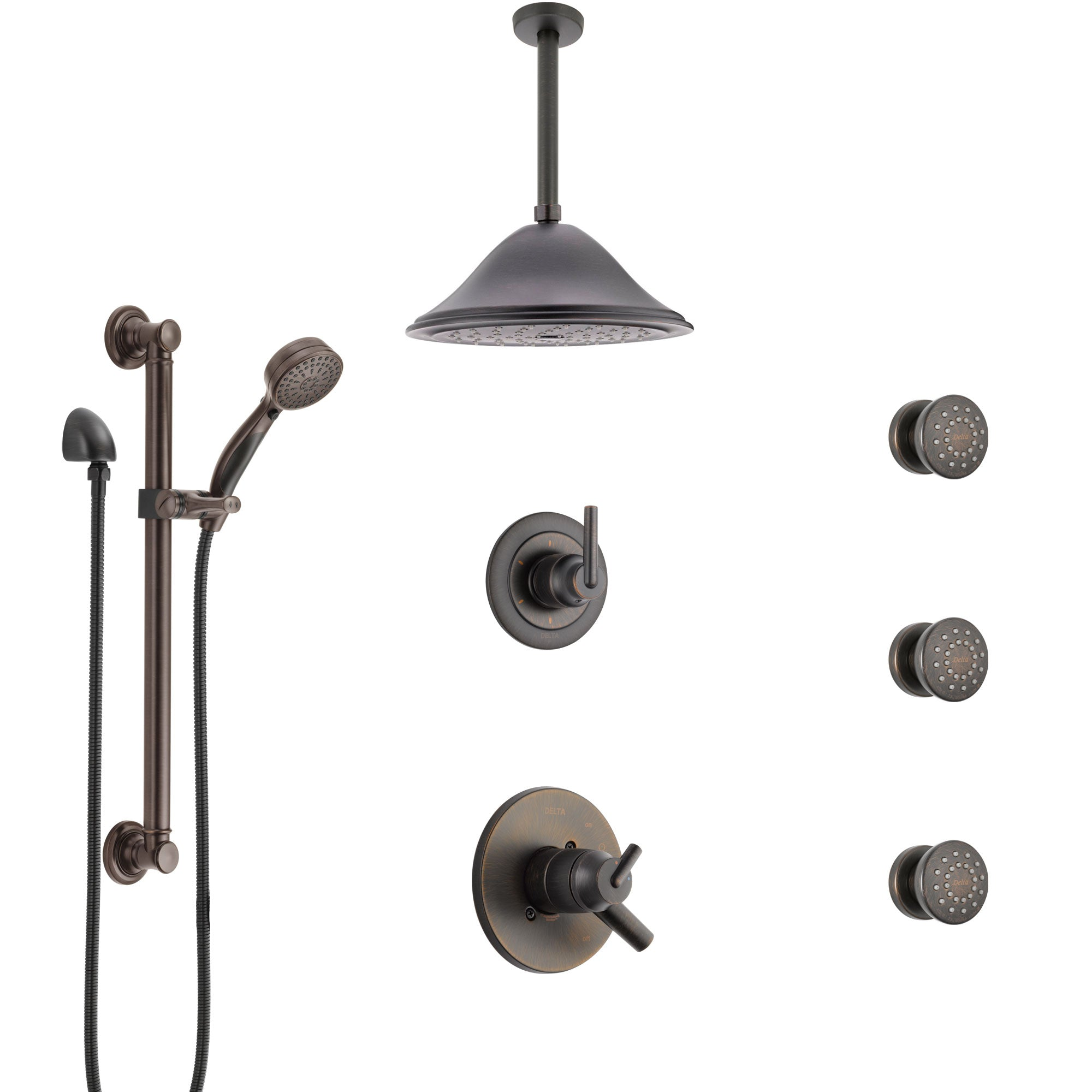 Delta Trinsic Venetian Bronze Dual Thermostatic Control Shower System, Diverter, Ceiling Showerhead, 3 Body Sprays, Grab Bar Hand Spray SS17T591RB5