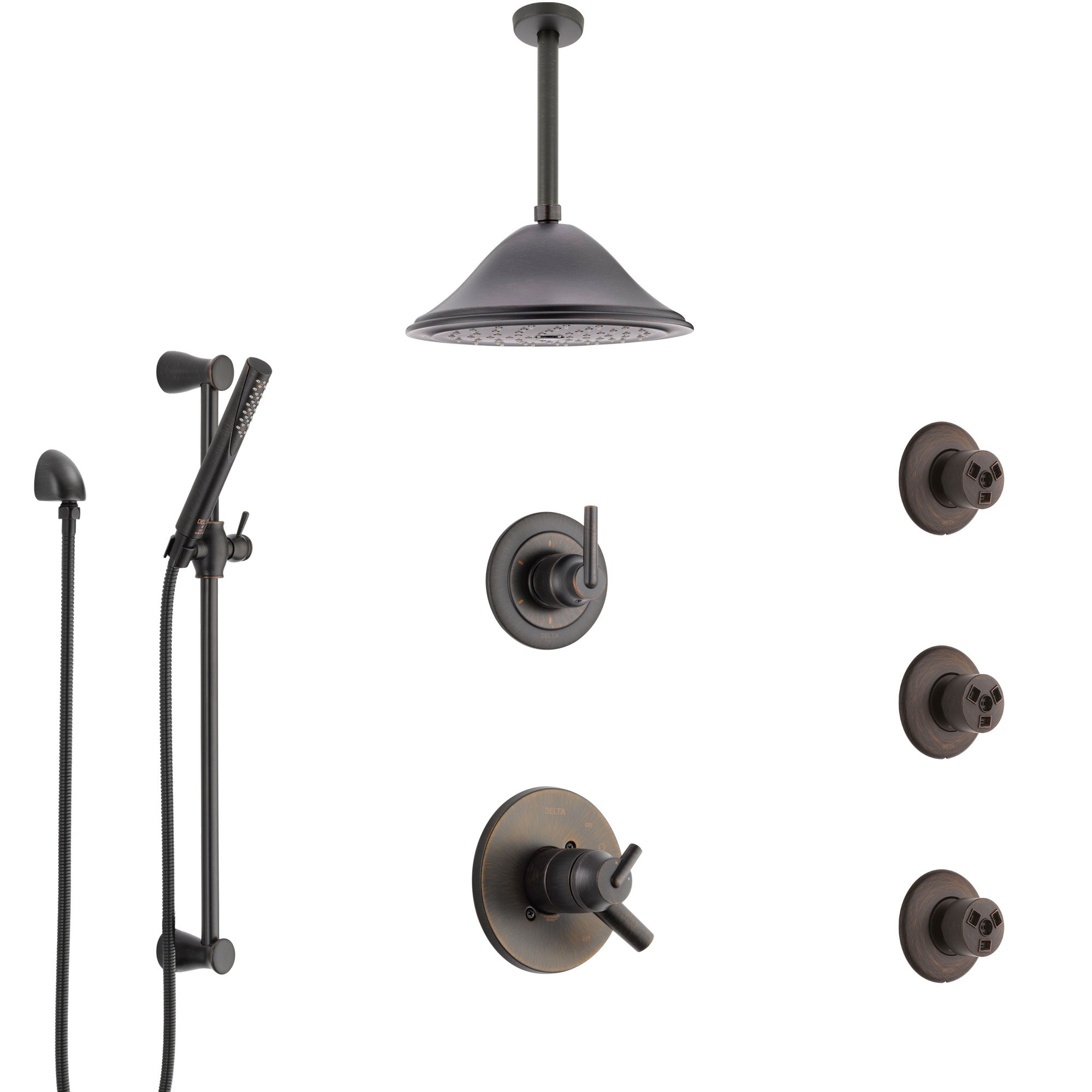 Delta Trinsic Venetian Bronze Shower System with Dual Thermostatic Control, Diverter, Ceiling Showerhead, 3 Body Sprays, and Hand Shower SS17T591RB7