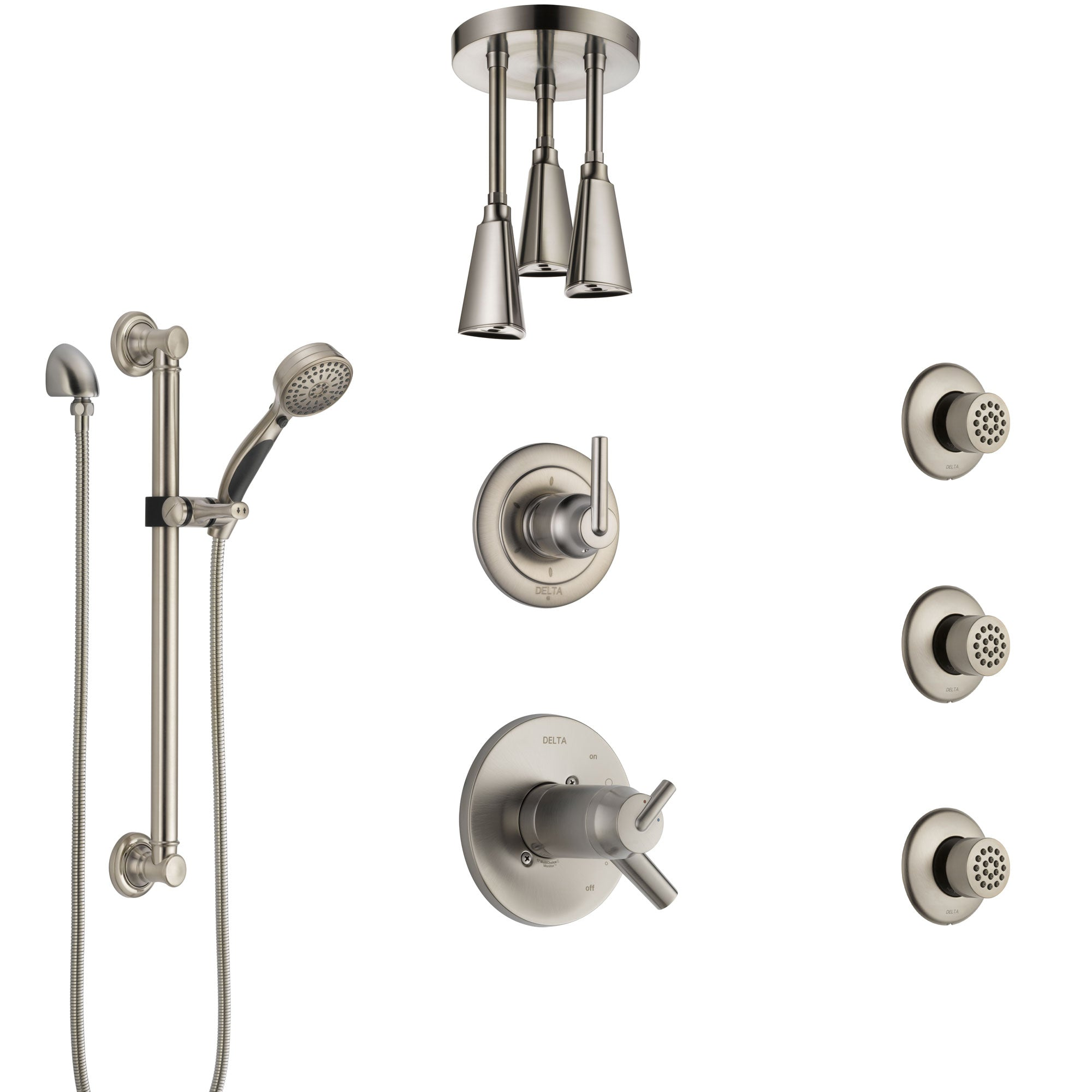 Delta Trinsic Dual Thermostatic Control Stainless Steel Finish Shower System with Ceiling Showerhead, 3 Body Jets, Grab Bar Hand Spray SS17T591SS3