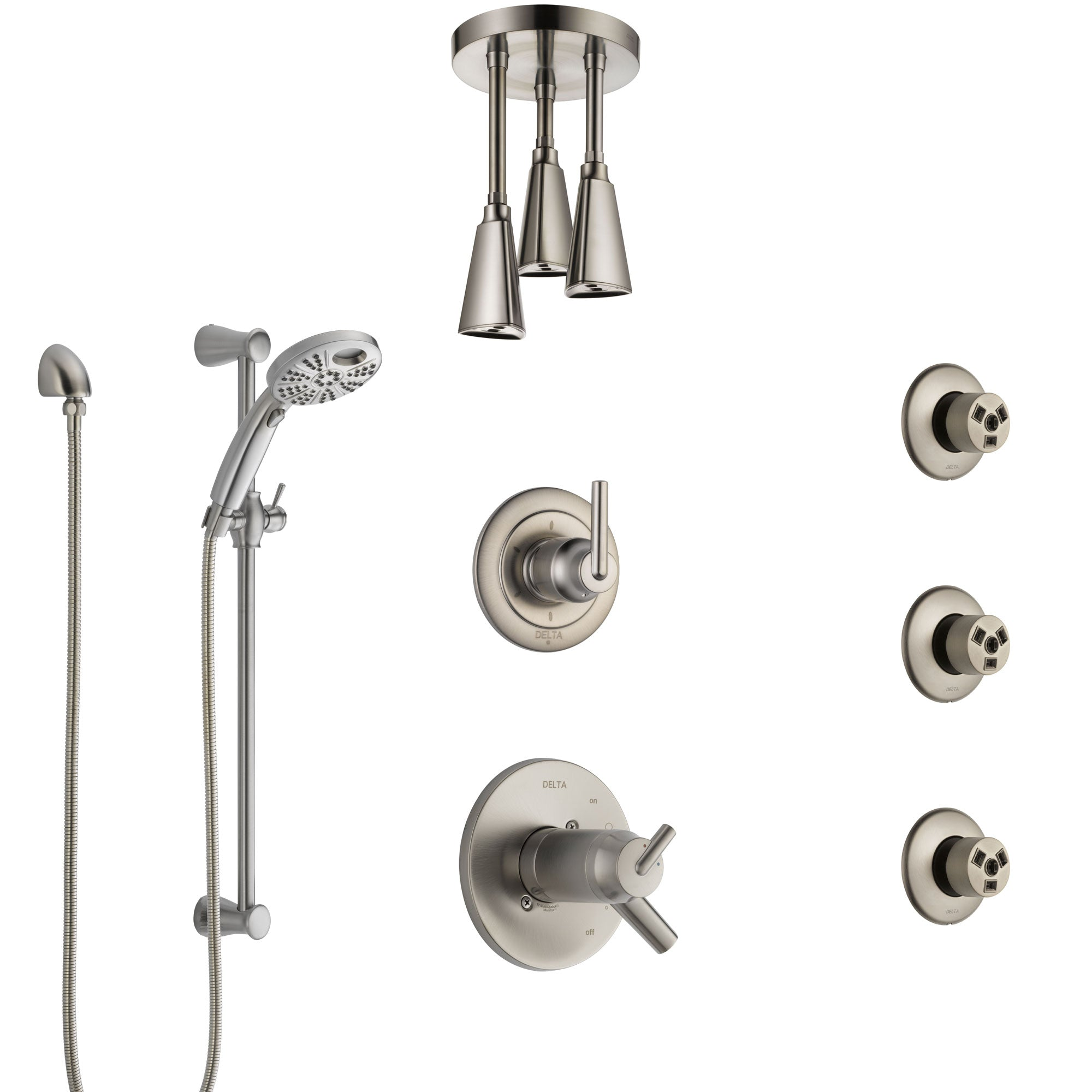 Delta Trinsic Thermostatic Control Stainless Steel Finish Shower System, Diverter, Ceiling Showerhead, 3 Body Sprays, & Temp2O Hand Shower SS17T591SS5