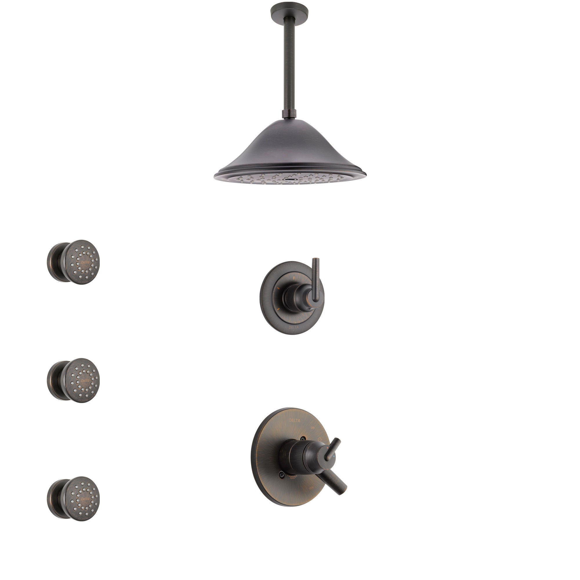 Delta Trinsic Venetian Bronze Shower System with Dual Thermostatic Control Handle, Diverter, Ceiling Mount Showerhead, and 3 Body Sprays SS17T592RB3