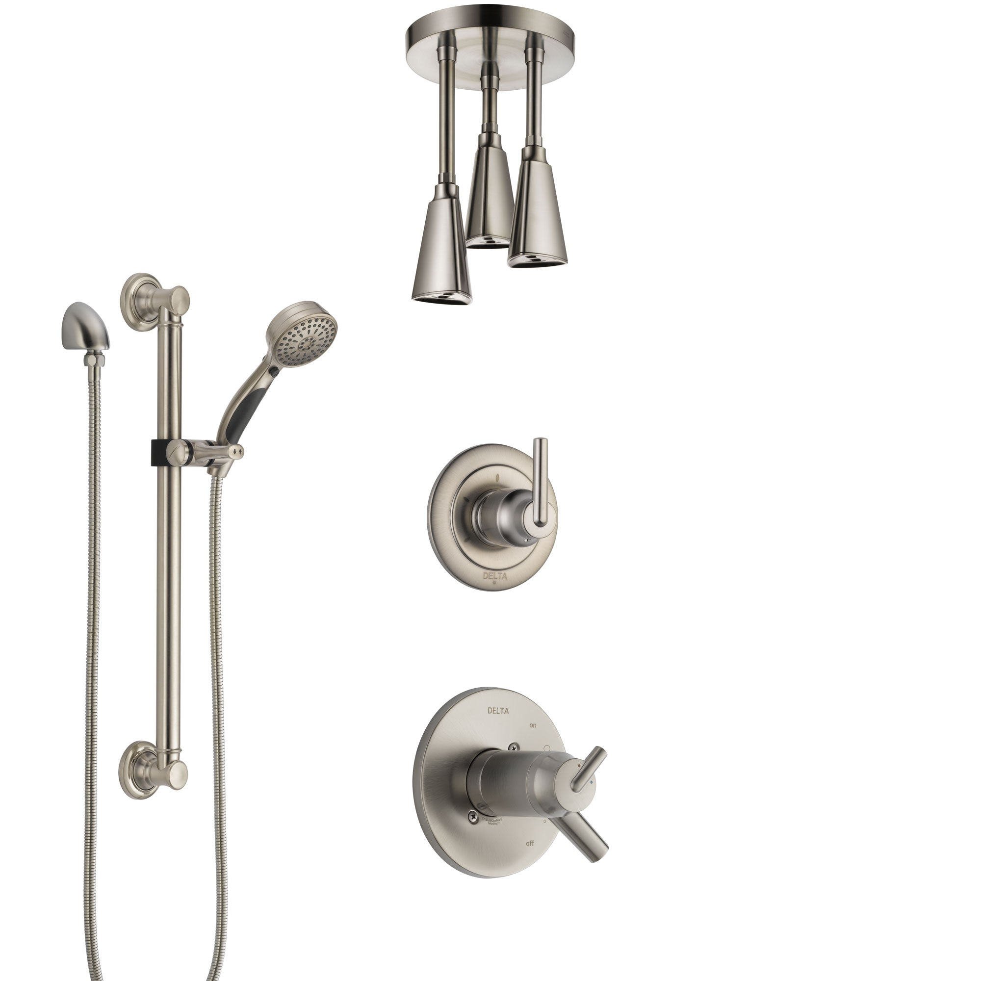 Delta Trinsic Dual Thermostatic Control Stainless Steel Finish Shower System, Diverter, Ceiling Mount Showerhead, and Grab Bar Hand Shower SS17T592SS1