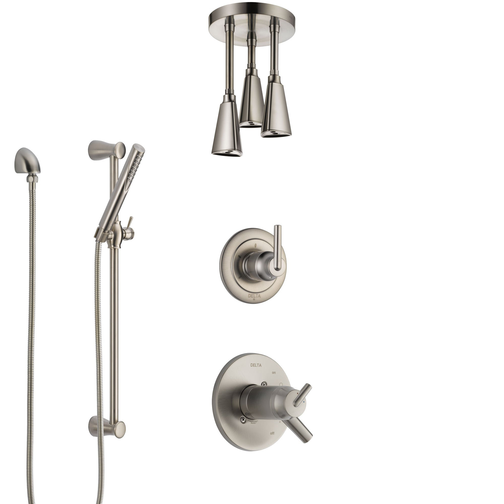 Delta Trinsic Dual Thermostatic Control Handle Stainless Steel Finish Shower System, Diverter, Ceiling Mount Showerhead, and Hand Shower SS17T592SS2