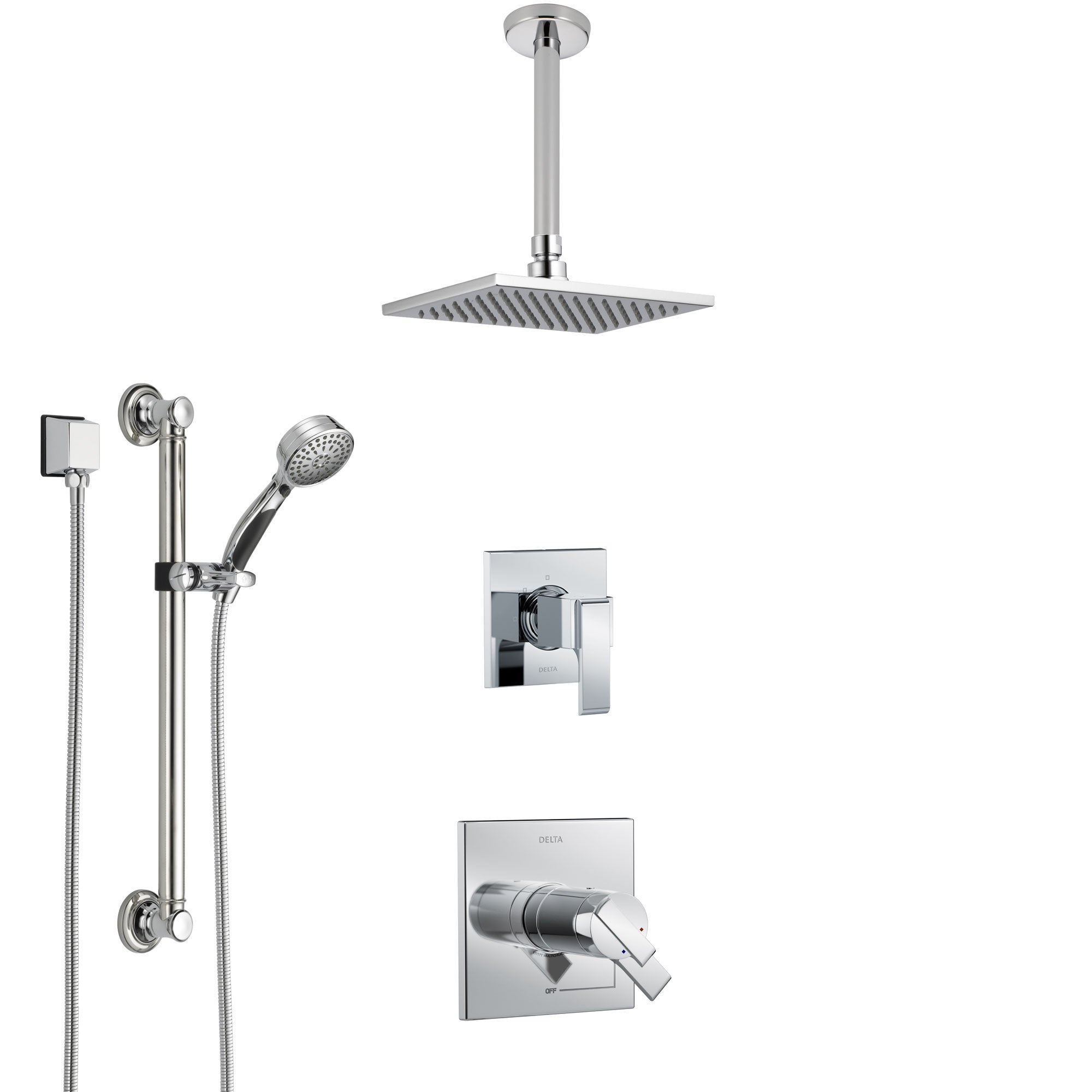 Delta Ara Chrome Shower System with Dual Thermostatic Control Handle, Diverter, Ceiling Mount Showerhead, and Hand Shower with Grab Bar SS17T6711