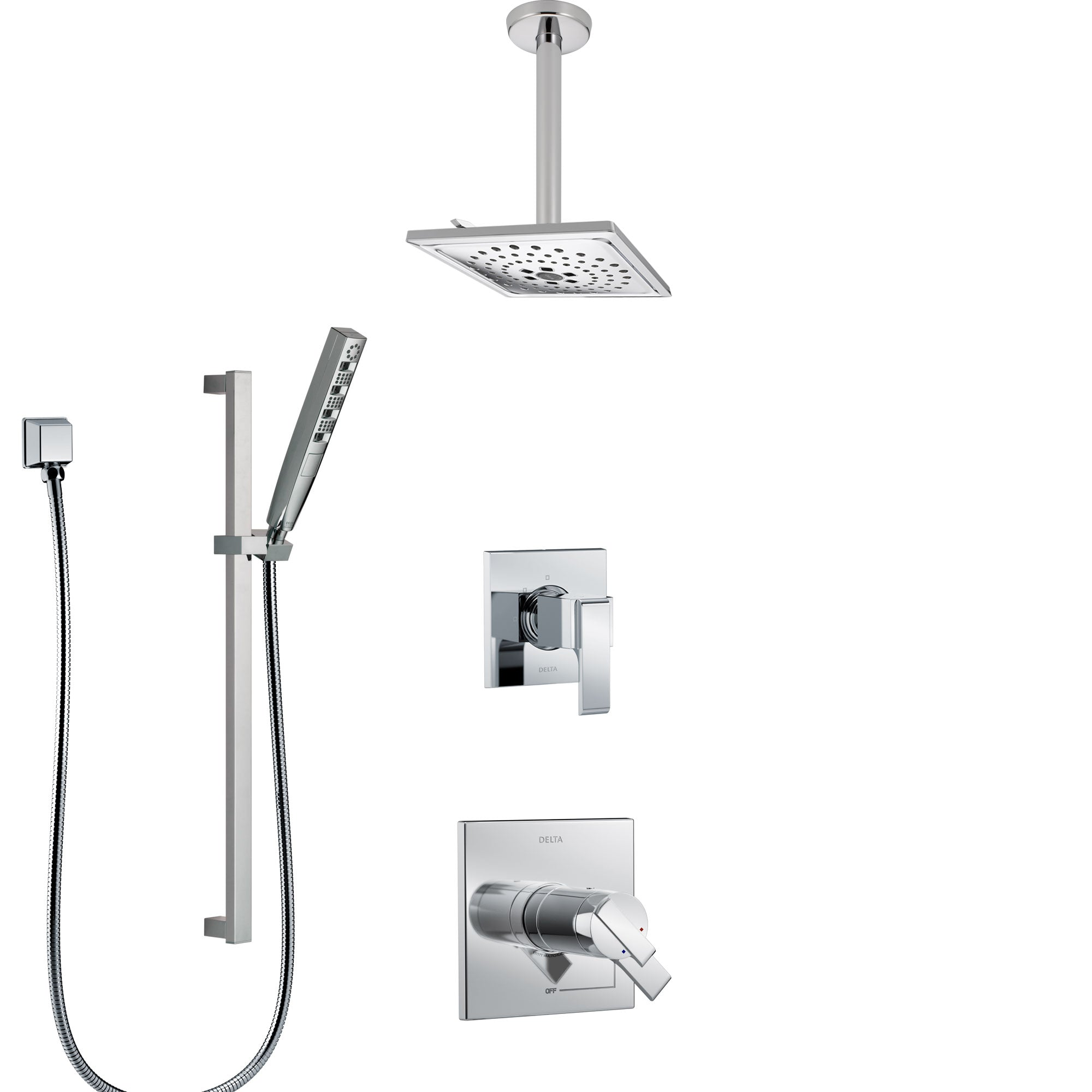 Delta Ara Chrome Finish Shower System with Dual Thermostatic Control Handle, Diverter, Ceiling Mount Showerhead, and Hand Shower SS17T6715