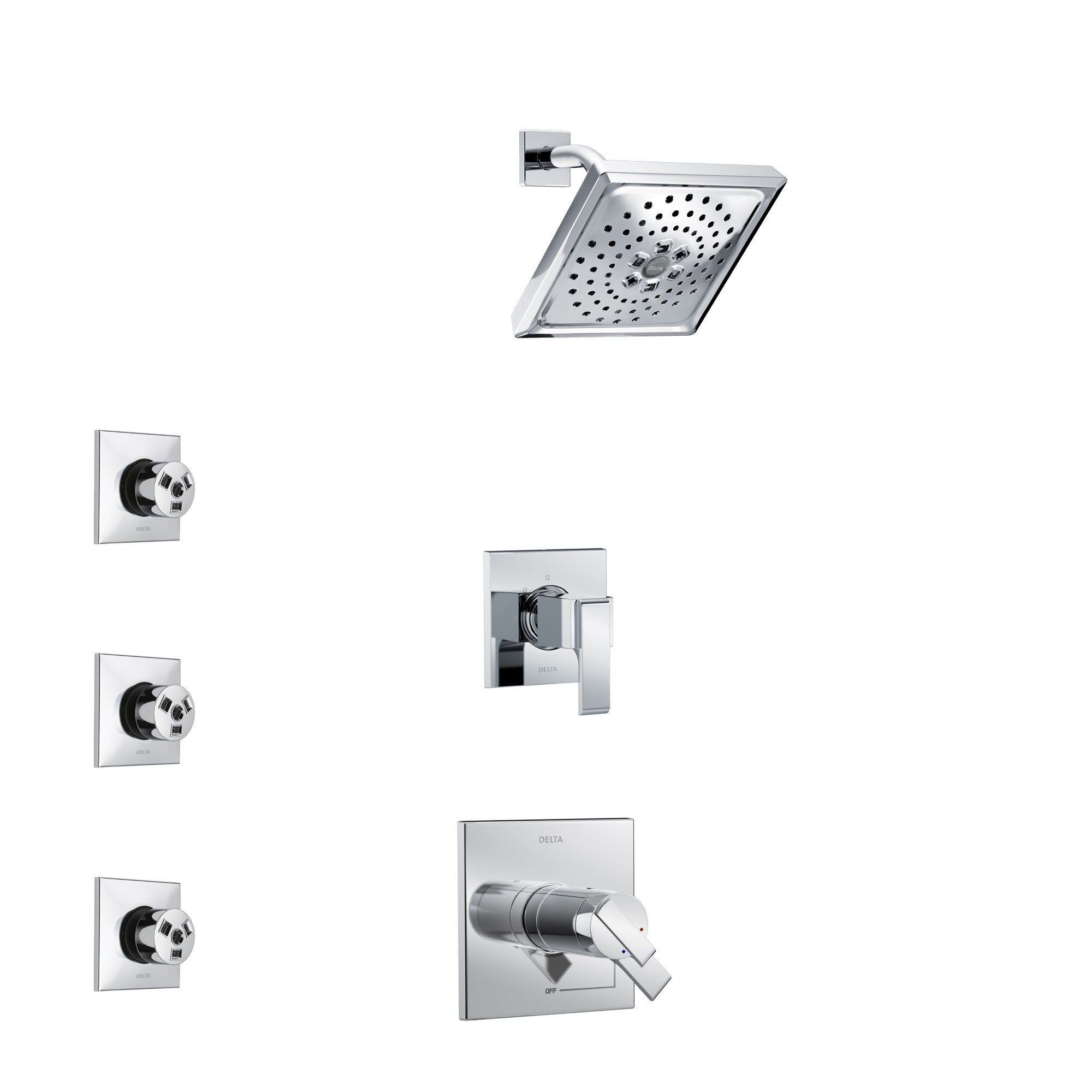 Delta Ara Chrome Finish Shower System with Dual Thermostatic Control Handle, 3-Setting Diverter, Showerhead, and 3 Body Sprays SS17T6717