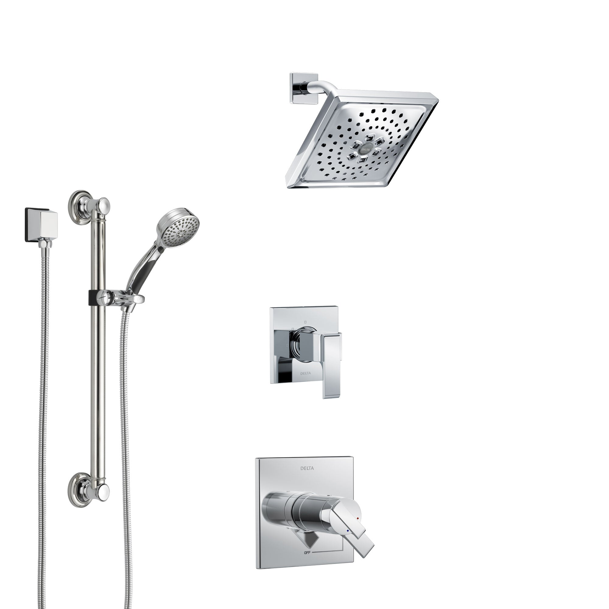 Delta Ara Chrome Finish Shower System with Dual Thermostatic Control Handle, 3-Setting Diverter, Showerhead, and Hand Shower with Grab Bar SS17T6718