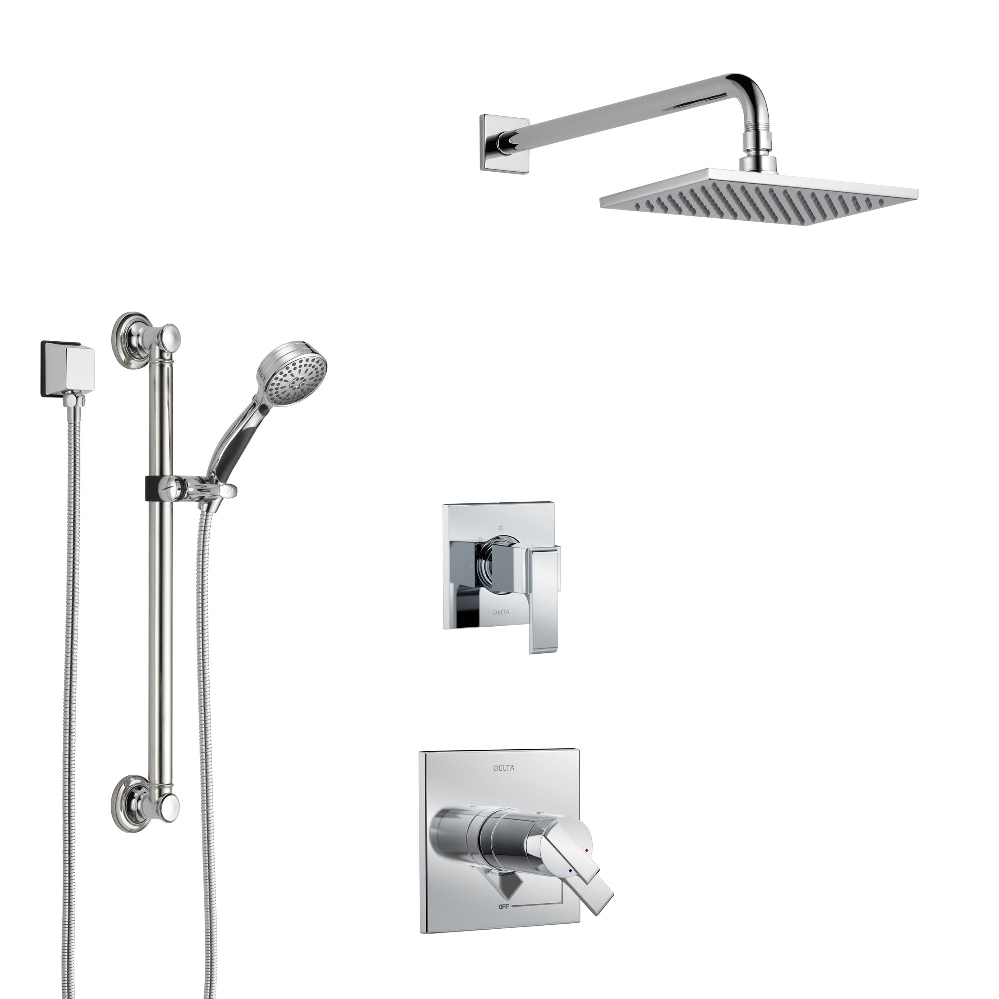 Delta Ara Chrome Finish Shower System with Dual Thermostatic Control Handle, 3-Setting Diverter, Showerhead, and Hand Shower with Grab Bar SS17T6719
