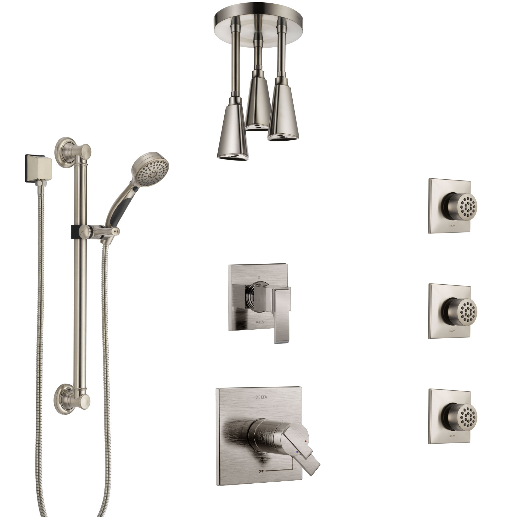 Delta Ara Dual Thermostatic Control Stainless Steel Finish Shower System, Diverter, Ceiling Showerhead, 3 Body Sprays, Grab Bar Hand Spray SS17T671SS3